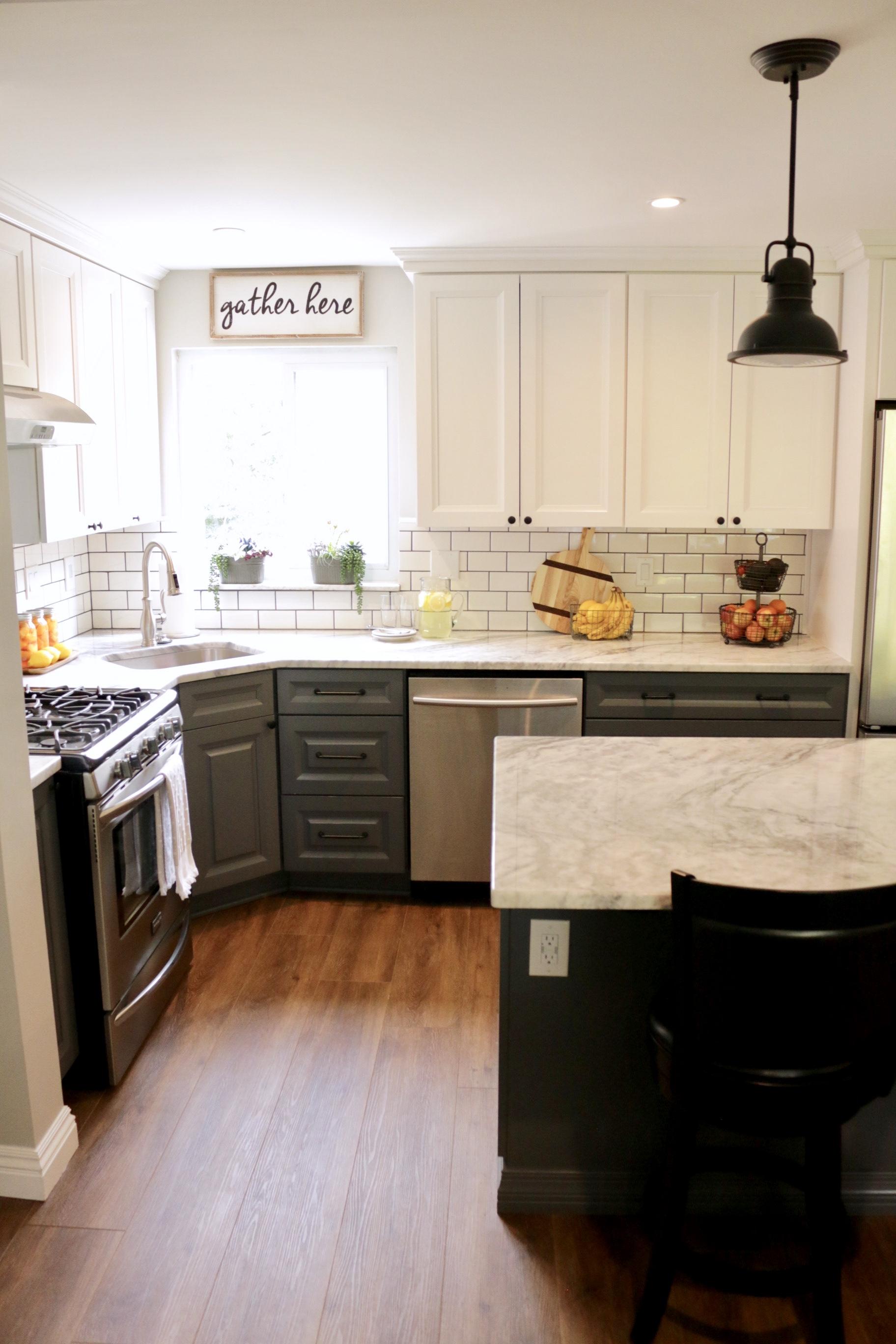 Bright White & Grey Cabinets