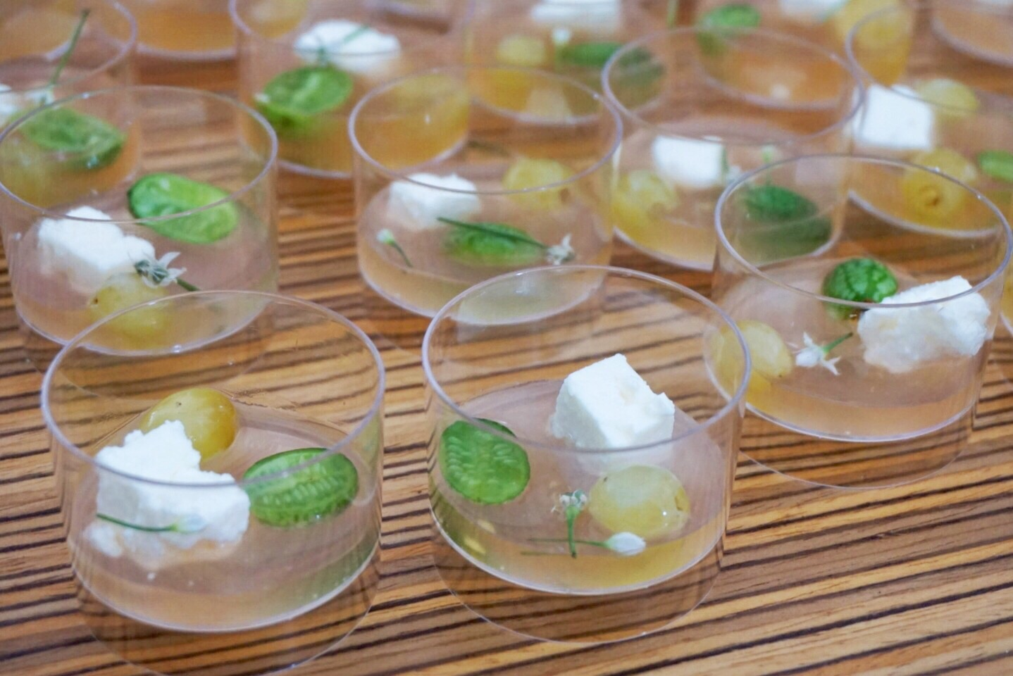 Gazpacho consomme with barrel-aged feta from  elm restaurant