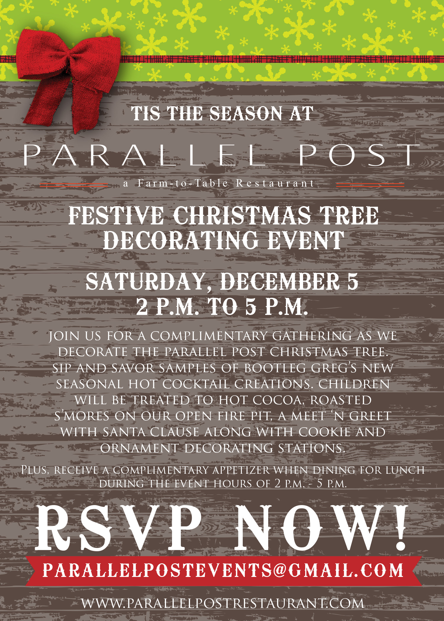 Parallel Post Christmas Tree Decorating Event