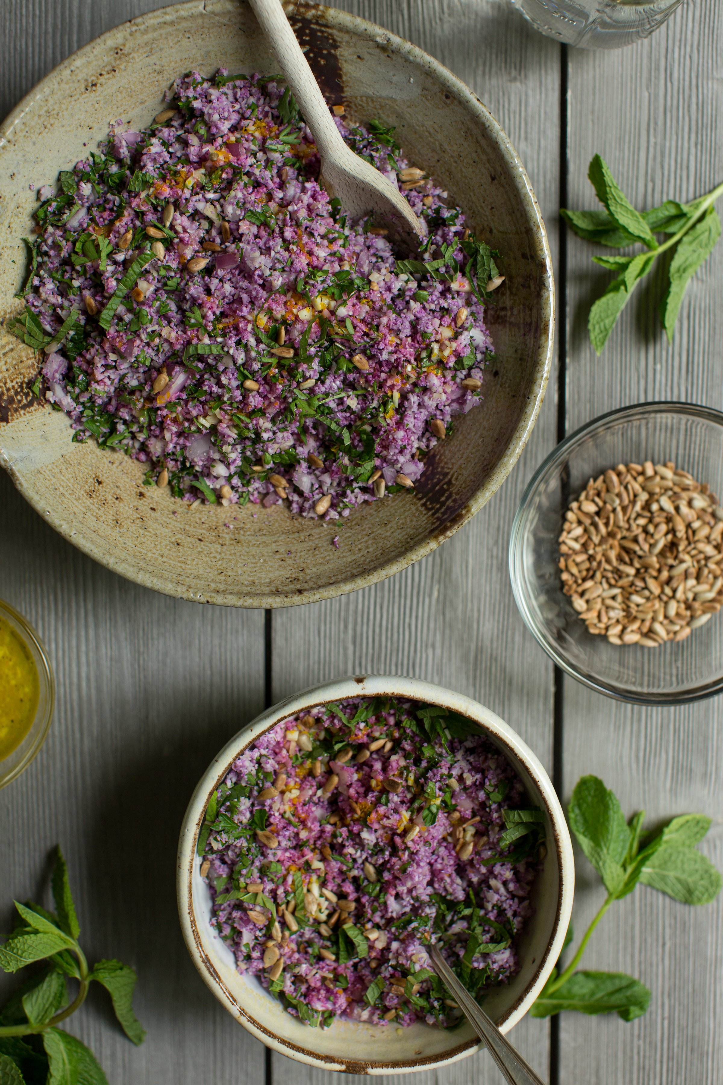 The perfect dish for a potluck or a picnic as it can be served cool or at room temperature. Purple Cauliflower Tabbouleh is a great vegetarian recipe. Find more recipes like this on CTEatsOut.com