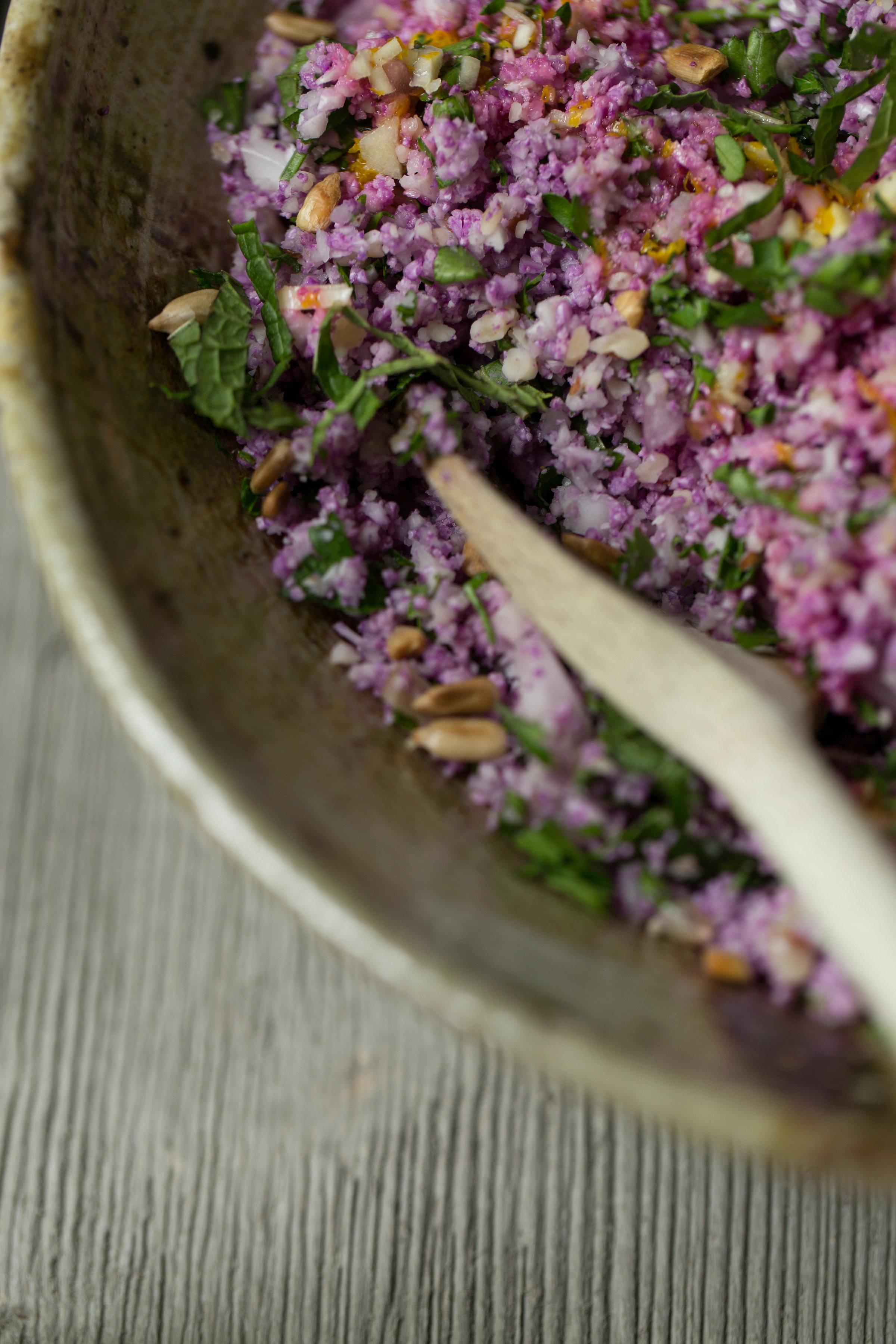 A modern twist on classic Middle Eastern dish of tabbouleh. Purple Cauliflower Tabbouleh Recipe on CTEatsOut.com