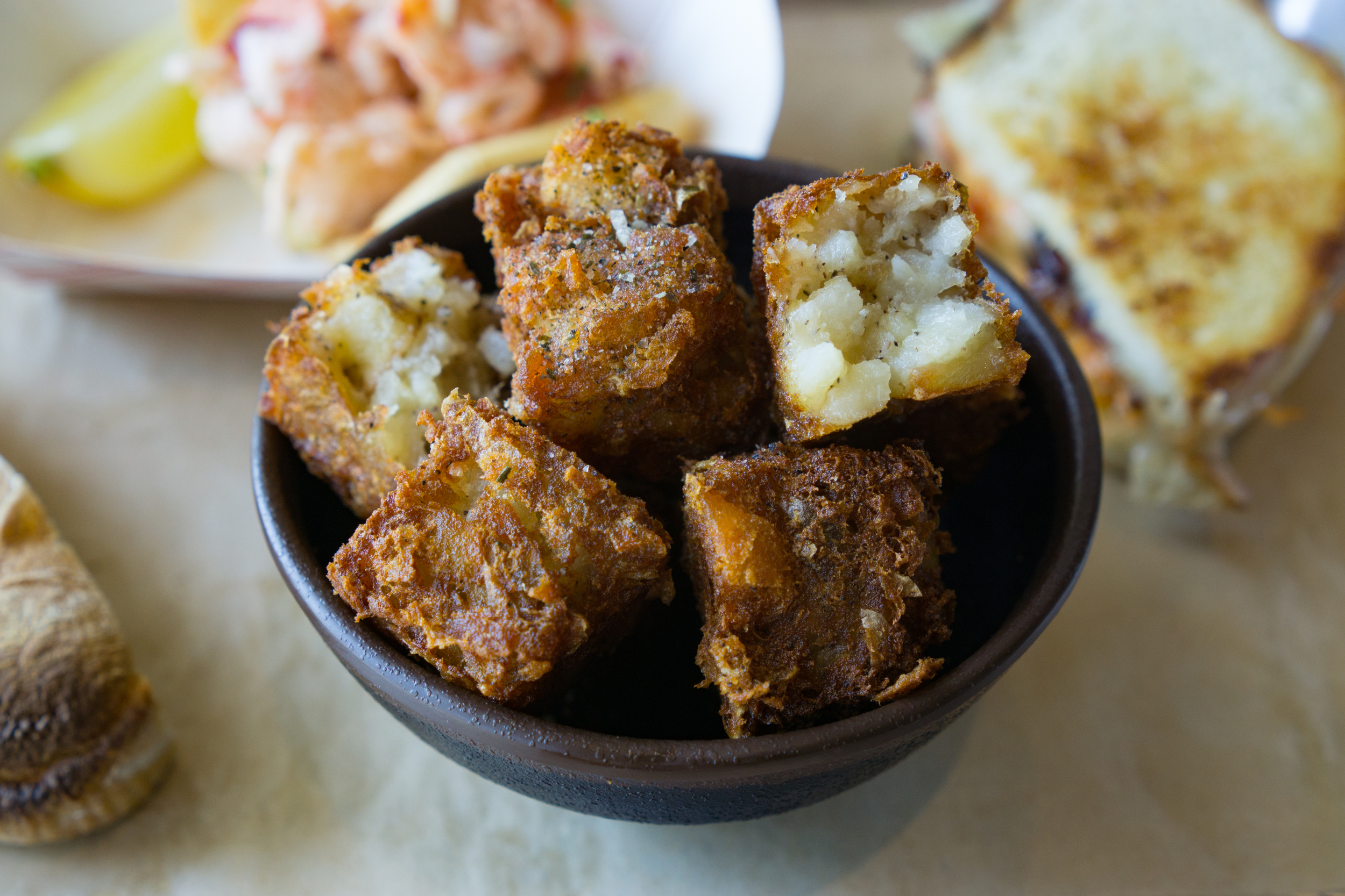 Homemade tater tots from Boothbay Lobster Company