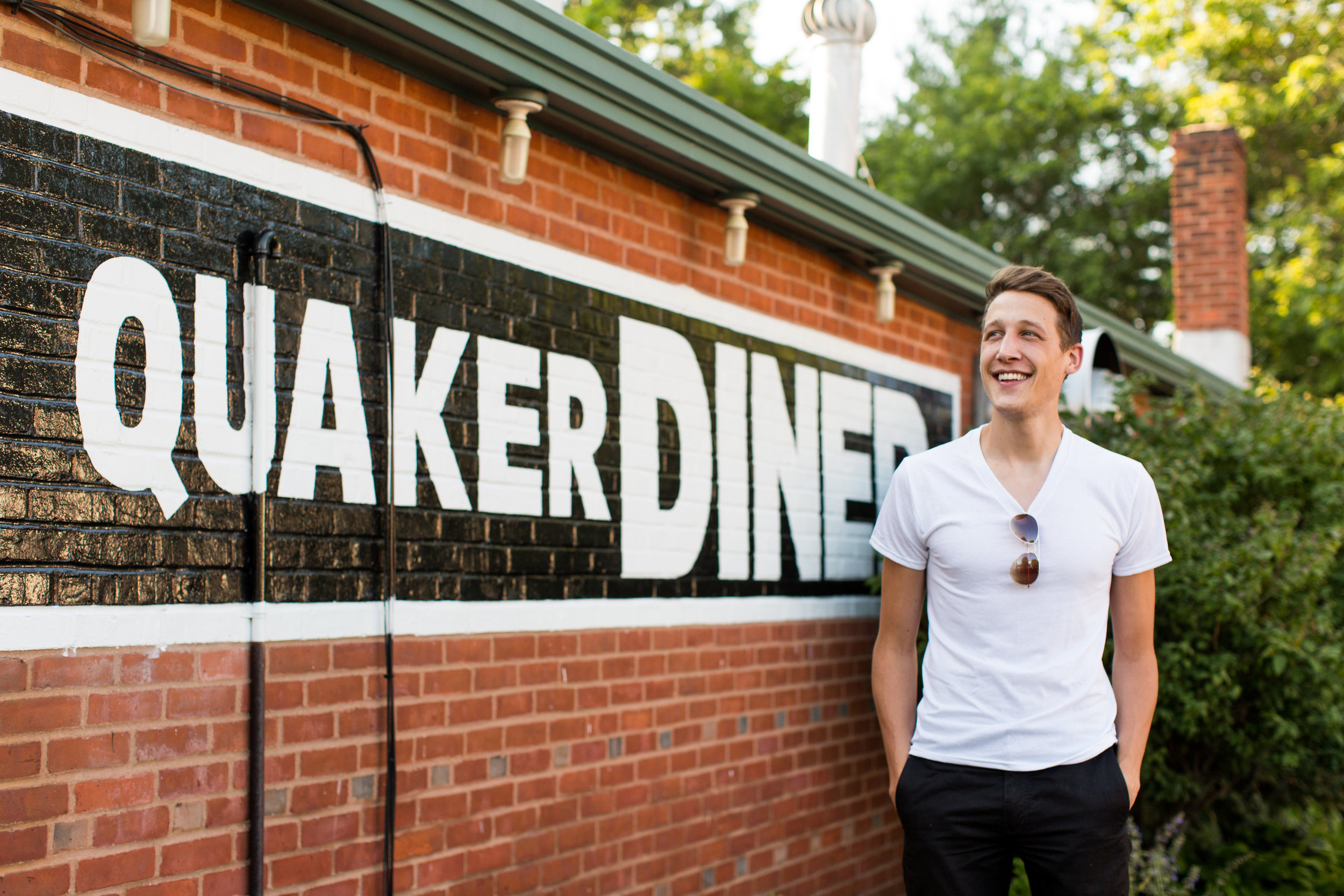 Brett Maddux outside of Quaker Diner, the unofficial home of his Connecticut diner tour