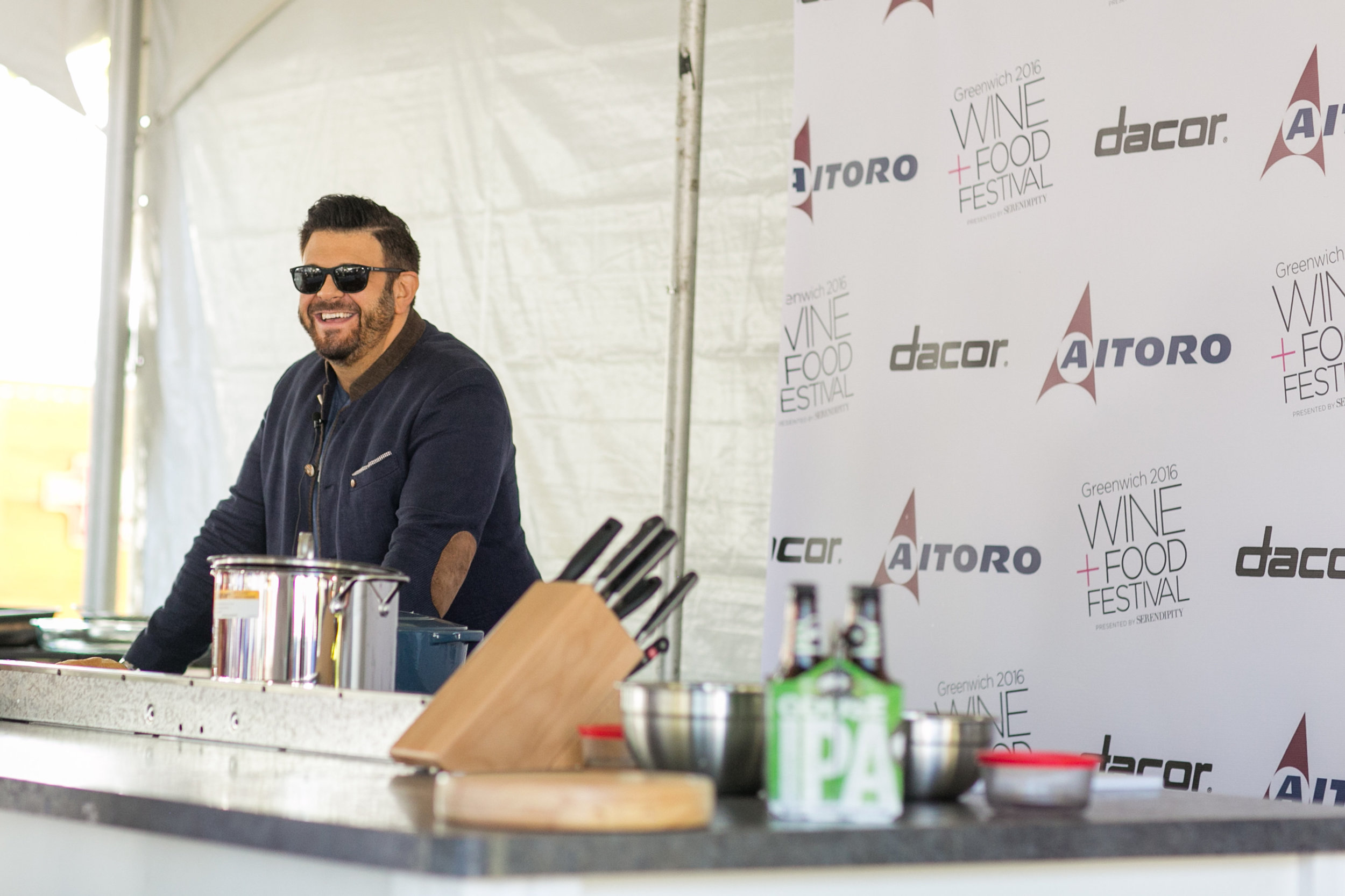 Adam Richman doing a chef demo at the Greenwich Wine and Food Festival 2016 | CTEatsOut.com