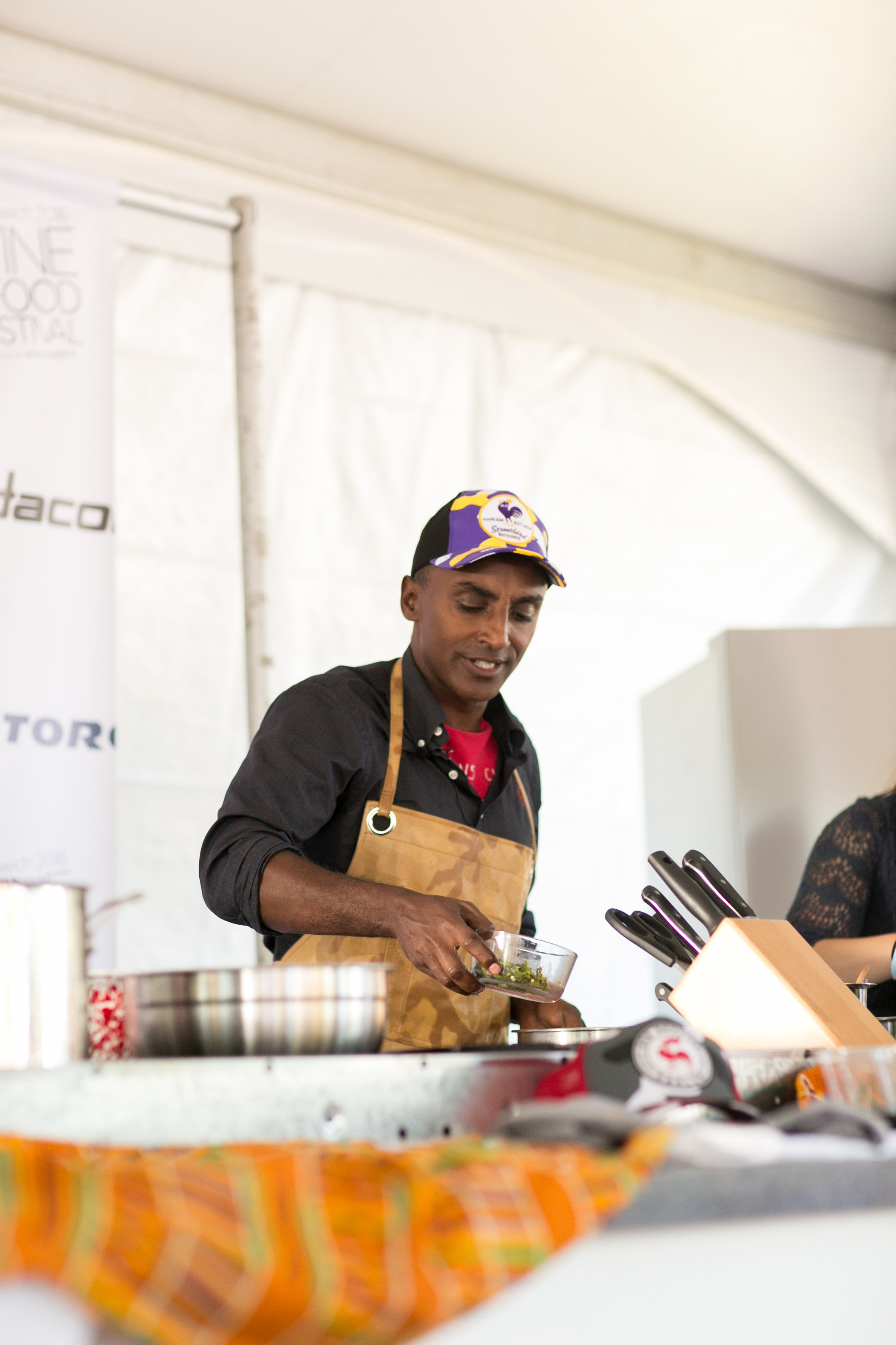 Marcus Samuelsson doing a chef demo at the Greenwich Wine and Food Festival 2016 | CTEatsOut.com