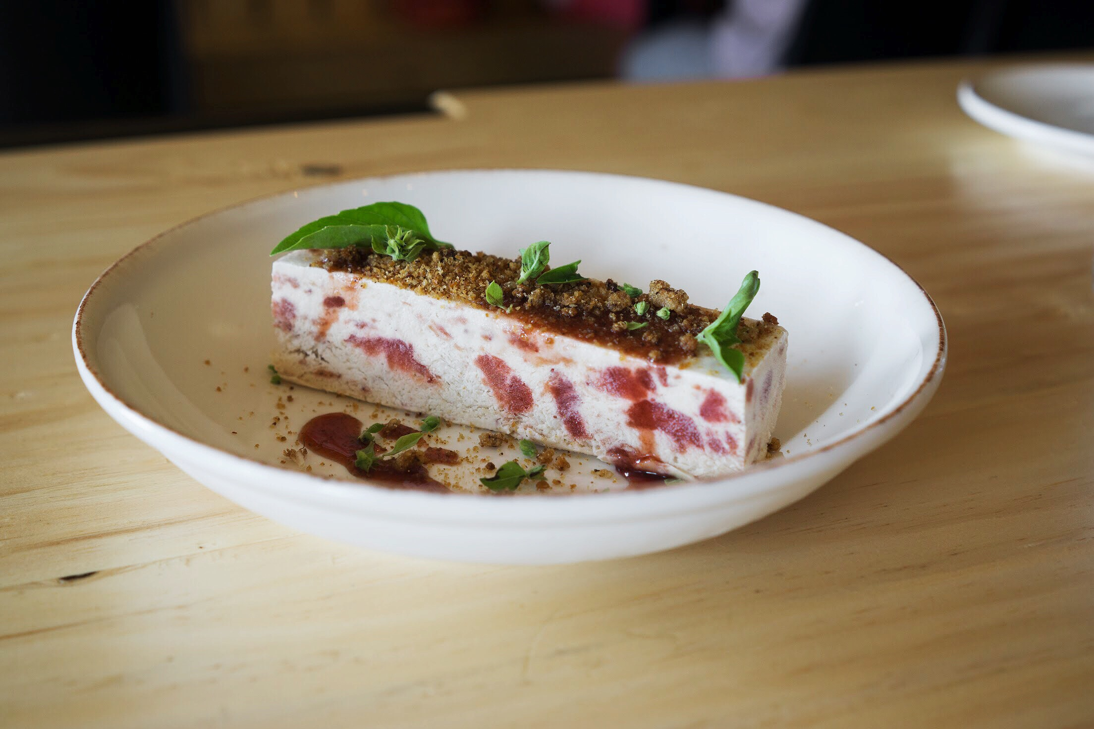 Strawberry semifreddo, honey pane-grattato and basil.  Photo by Alycia Chrosniak