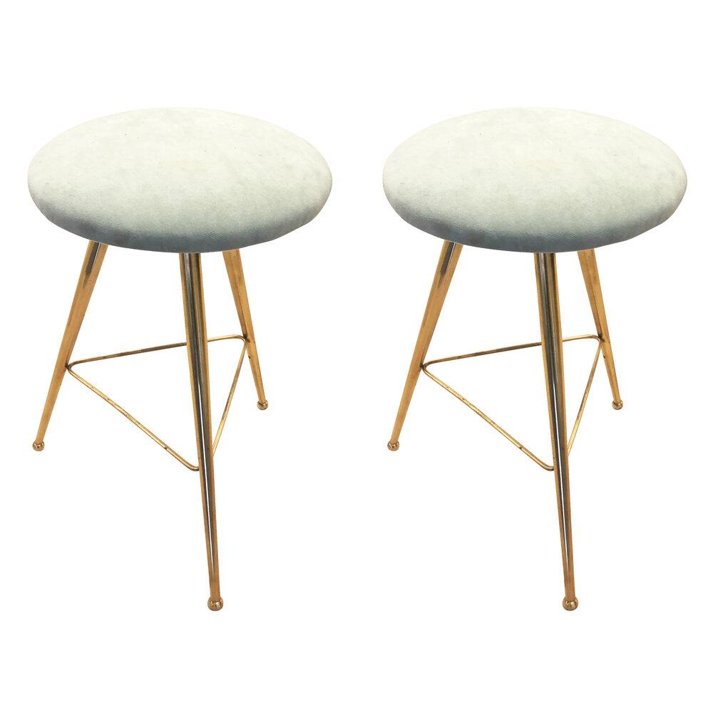 Pair Of Charming Mid Century Stools Gaspare Asaro Italian Modern Furniture And Lighting New York Ny