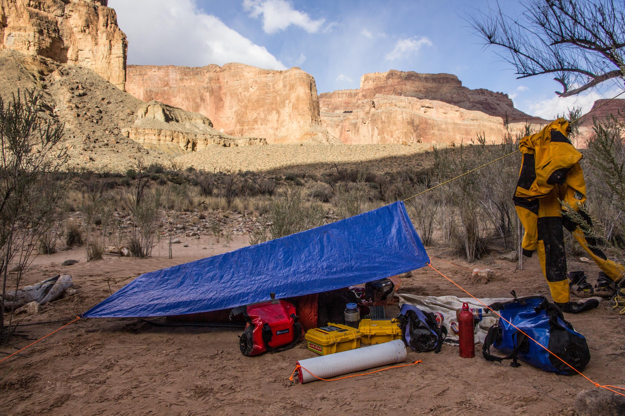 Tarp camping at Nankoweap. Grand Canyon, AZ