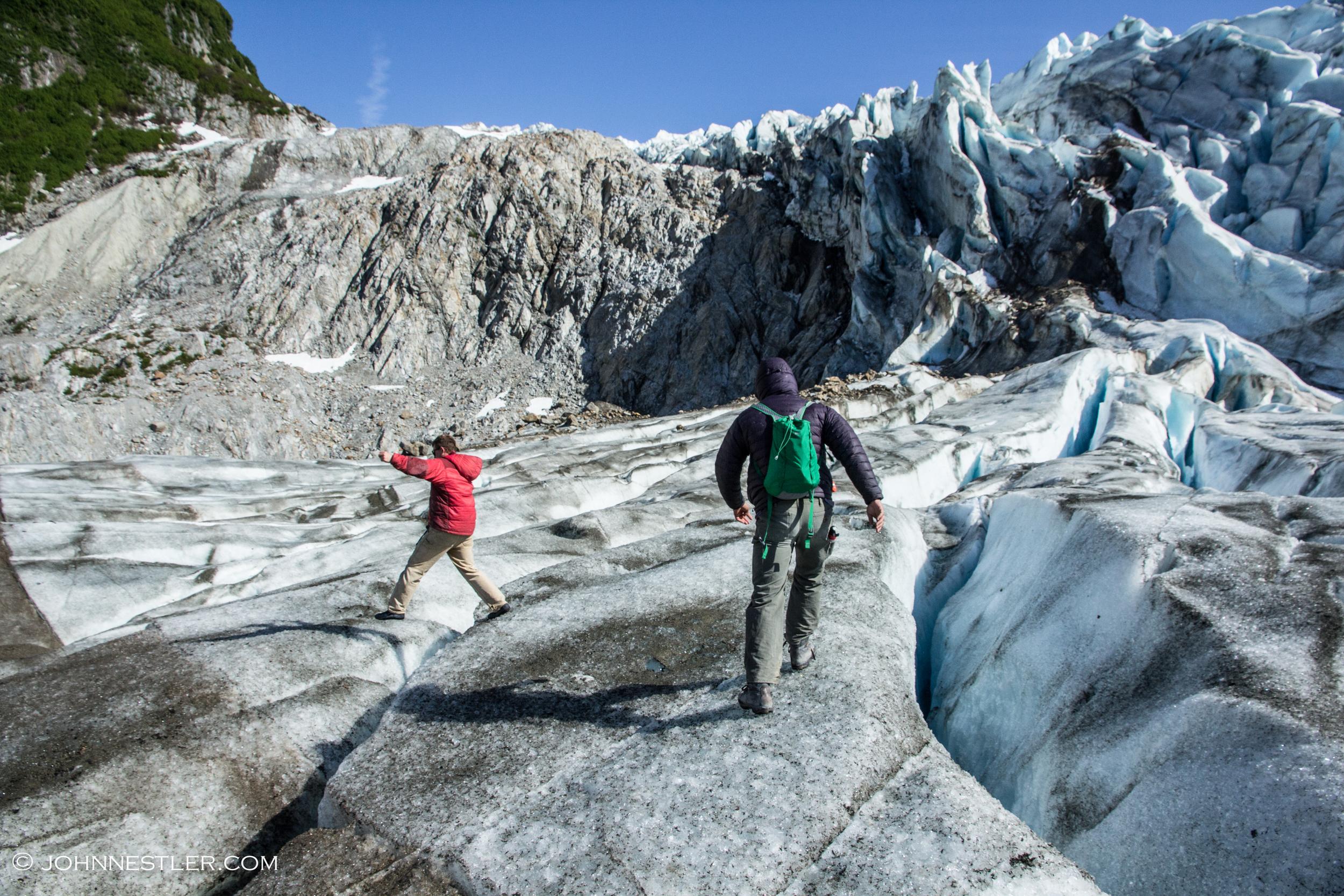 Hikers on Walker Glacier