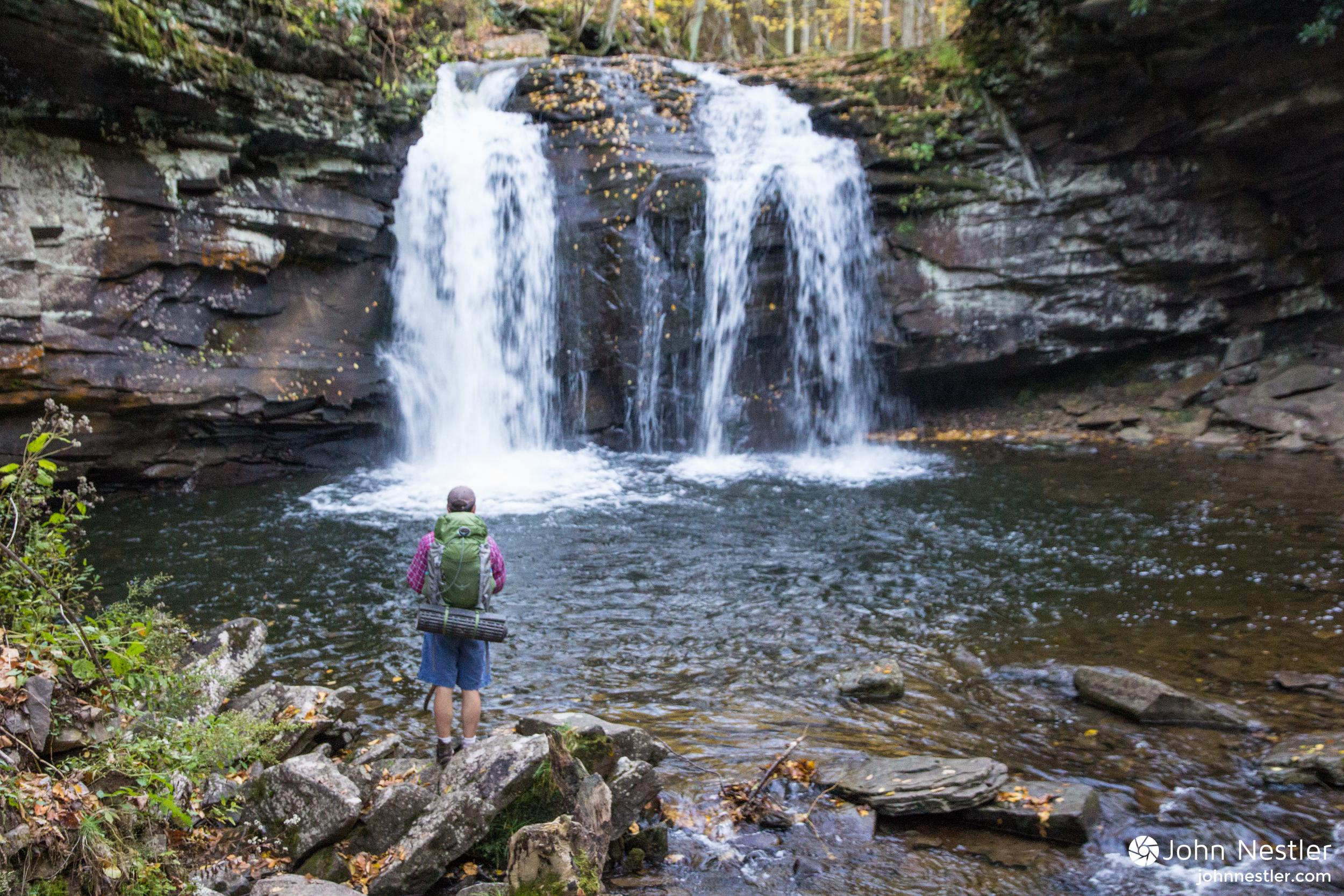 Getting a glimpse of Upper Seneca Creek Falls and a cool, wet spray.