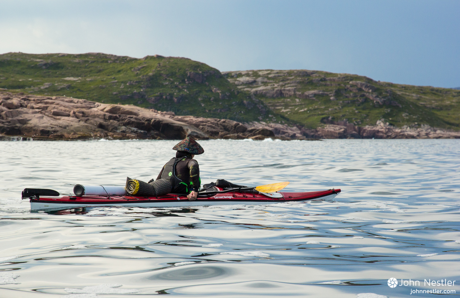 A friend sporting the KAVU Chillba while on a 20 day sea kayaking expedition in Newfoundland.