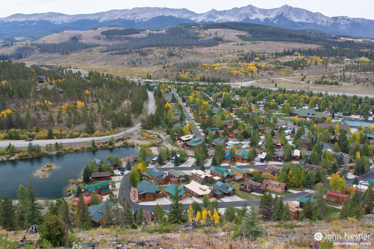 View of the outskirts of Breckenridge while descending from the Colorado Trail. Development like this is a stark contrast from the scenery of the trail, but enables convenient resupply options.