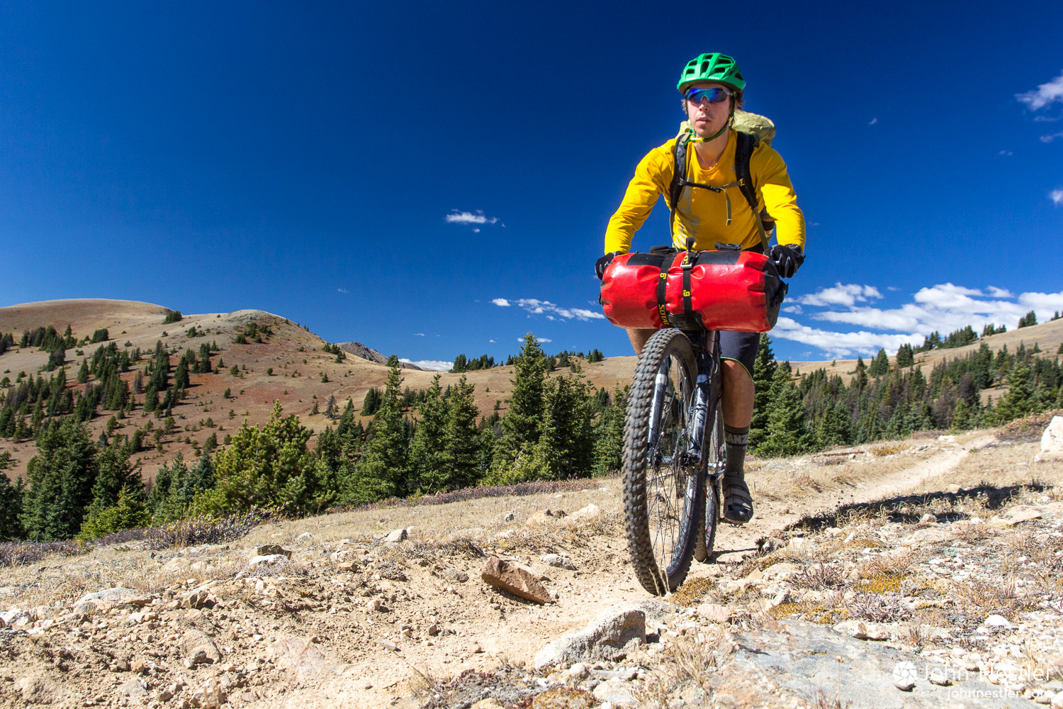 Enjoying a beautiful bit of riding around treeline where the Colorado Trail intersects the Monarch Crest Trail momentarily in Segment 15. Smooth, flowy trails with bluebird skies made for a memorable day.