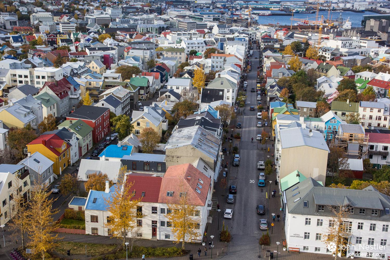 Looking down on Reykjavík from Hallgrímskirkja Church.