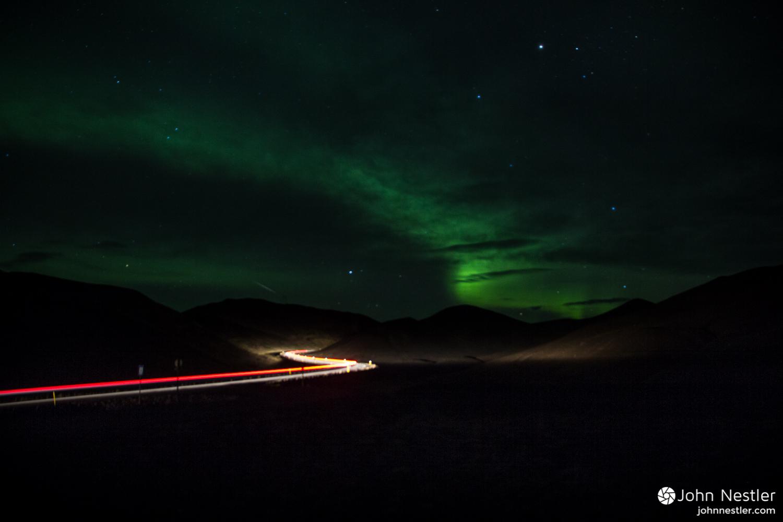 A Northern Lights display around Myvatn.