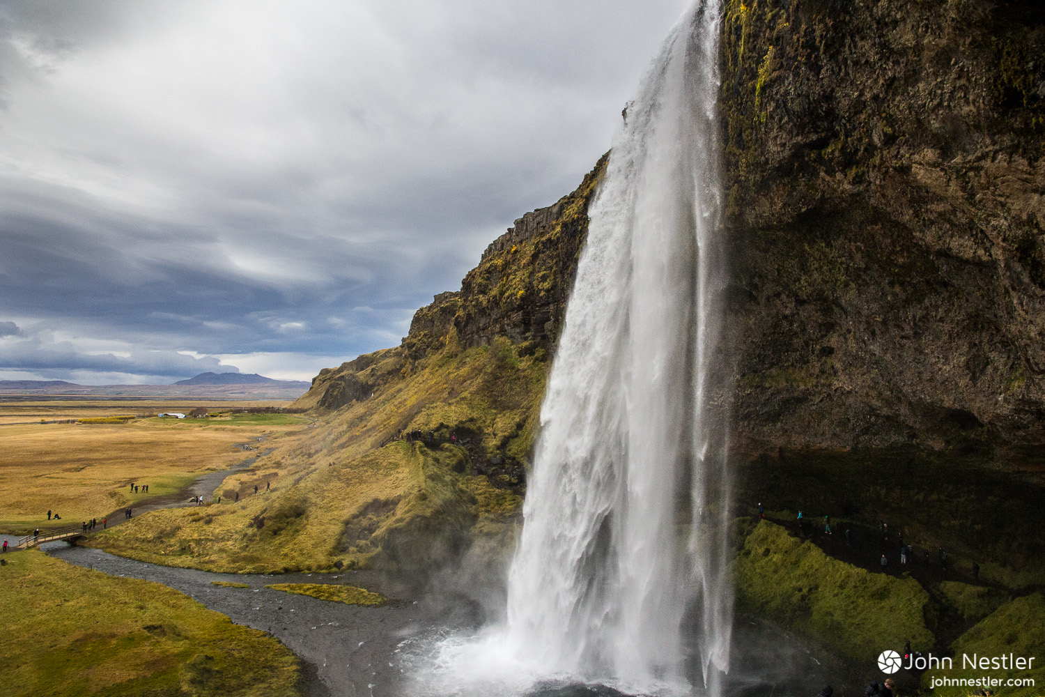 Seljalandsfoss waterfall is one of the more visited attractions in Iceland, and the human impacts show.