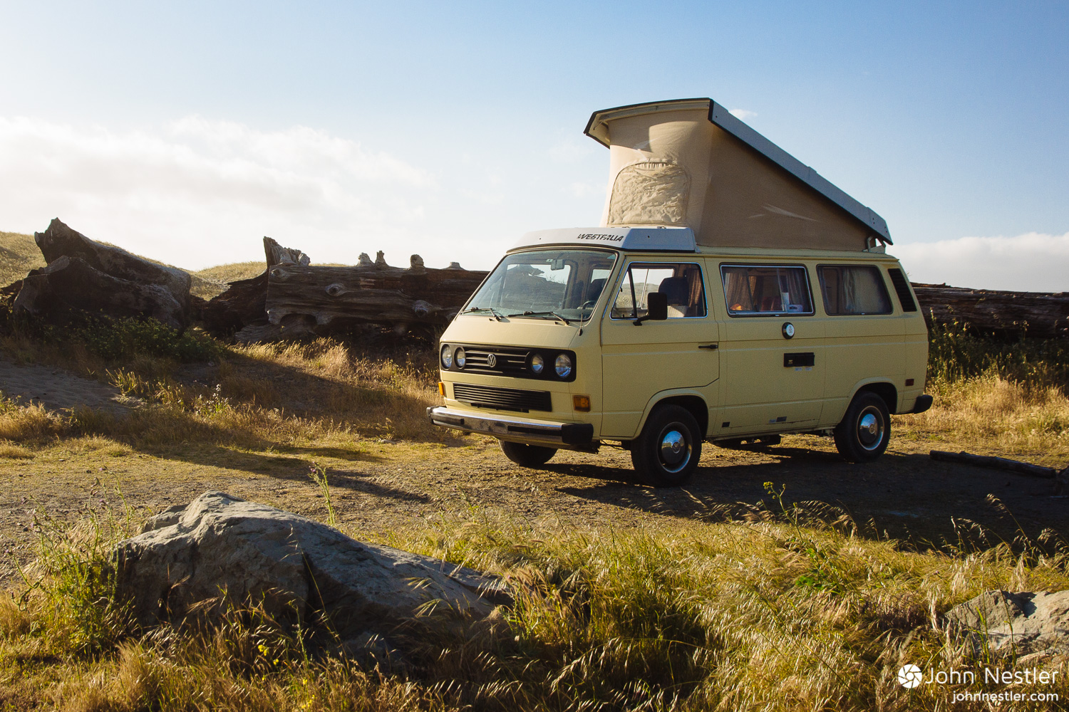 This setting seemed idyllic to me. A VW Westfalia parked by the ocean at Mattole Beach.