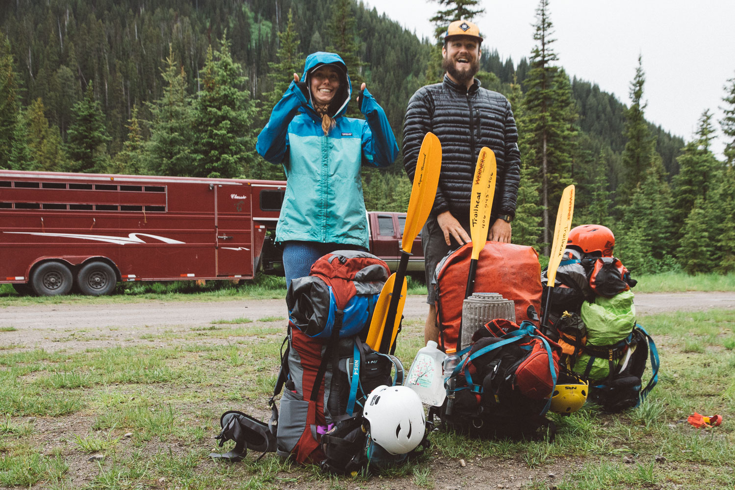 A couple of stoked people, and a few very heavy backpacks.