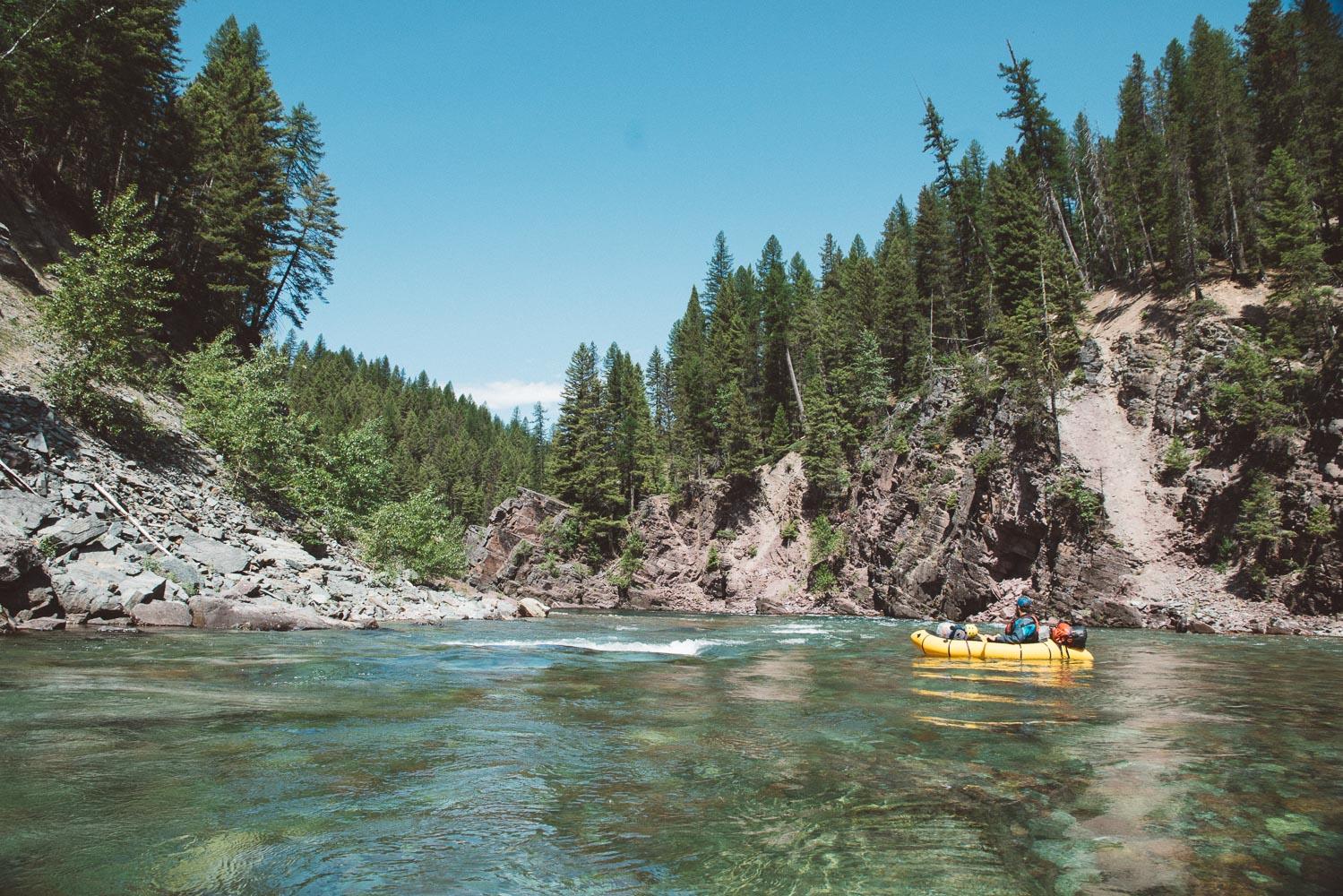 Zane floating along the roadside section below Bear Creek.