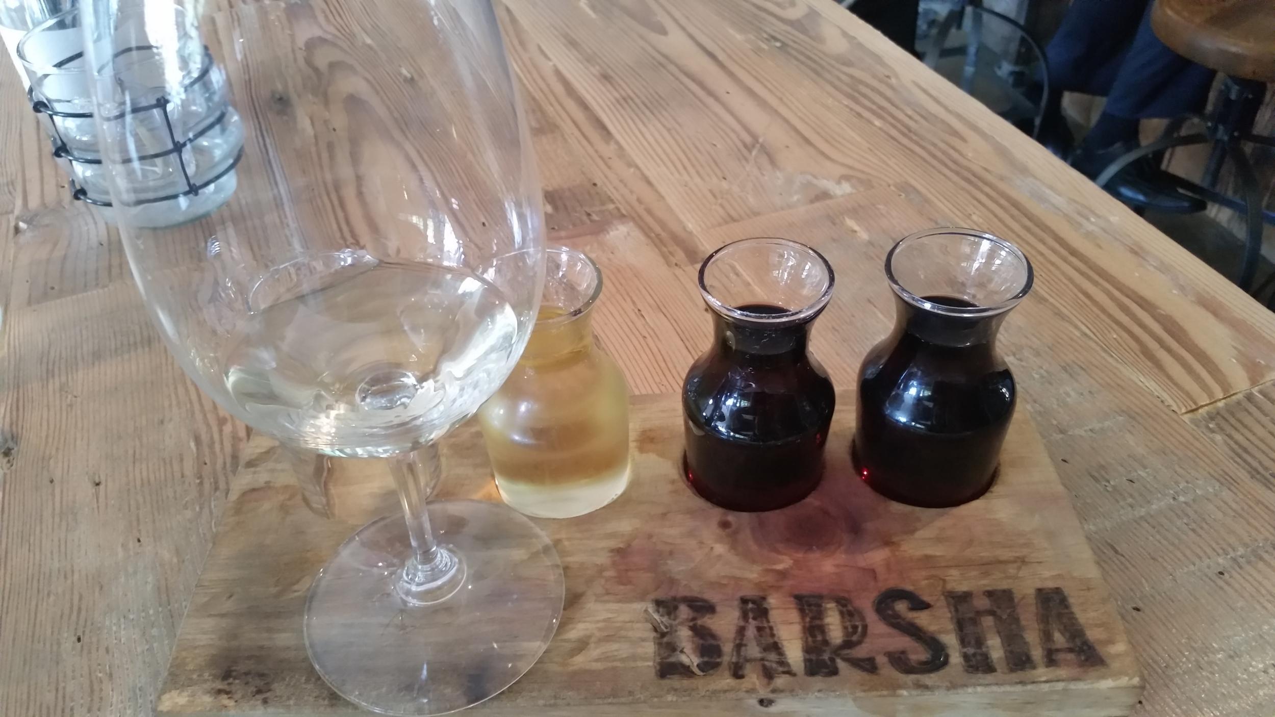 A wine flight at Barsha