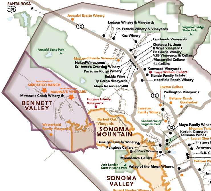 Image: Bennett Valley lies wholly within the Sonoma Valley between Santa Rosa and Glen Ellen.