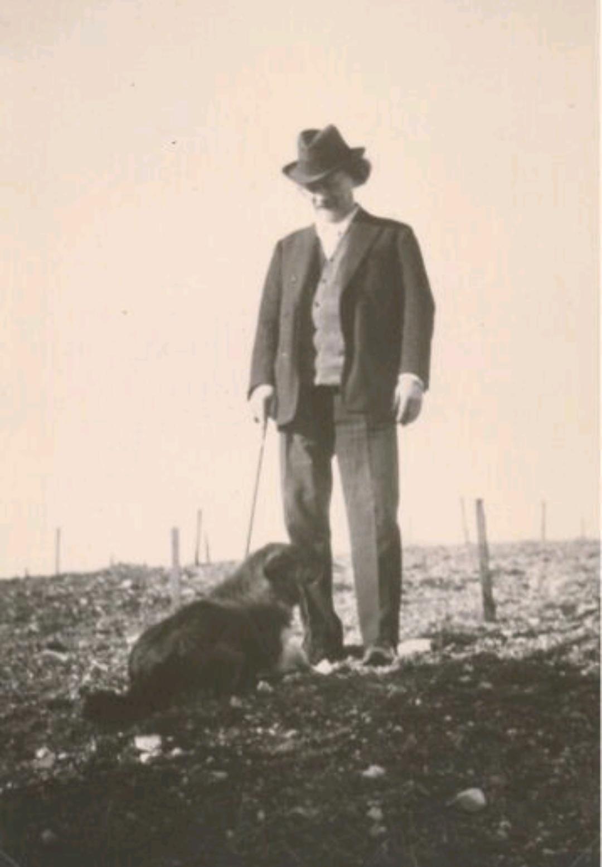 Paderewski standing in his future vineyard in Paso.