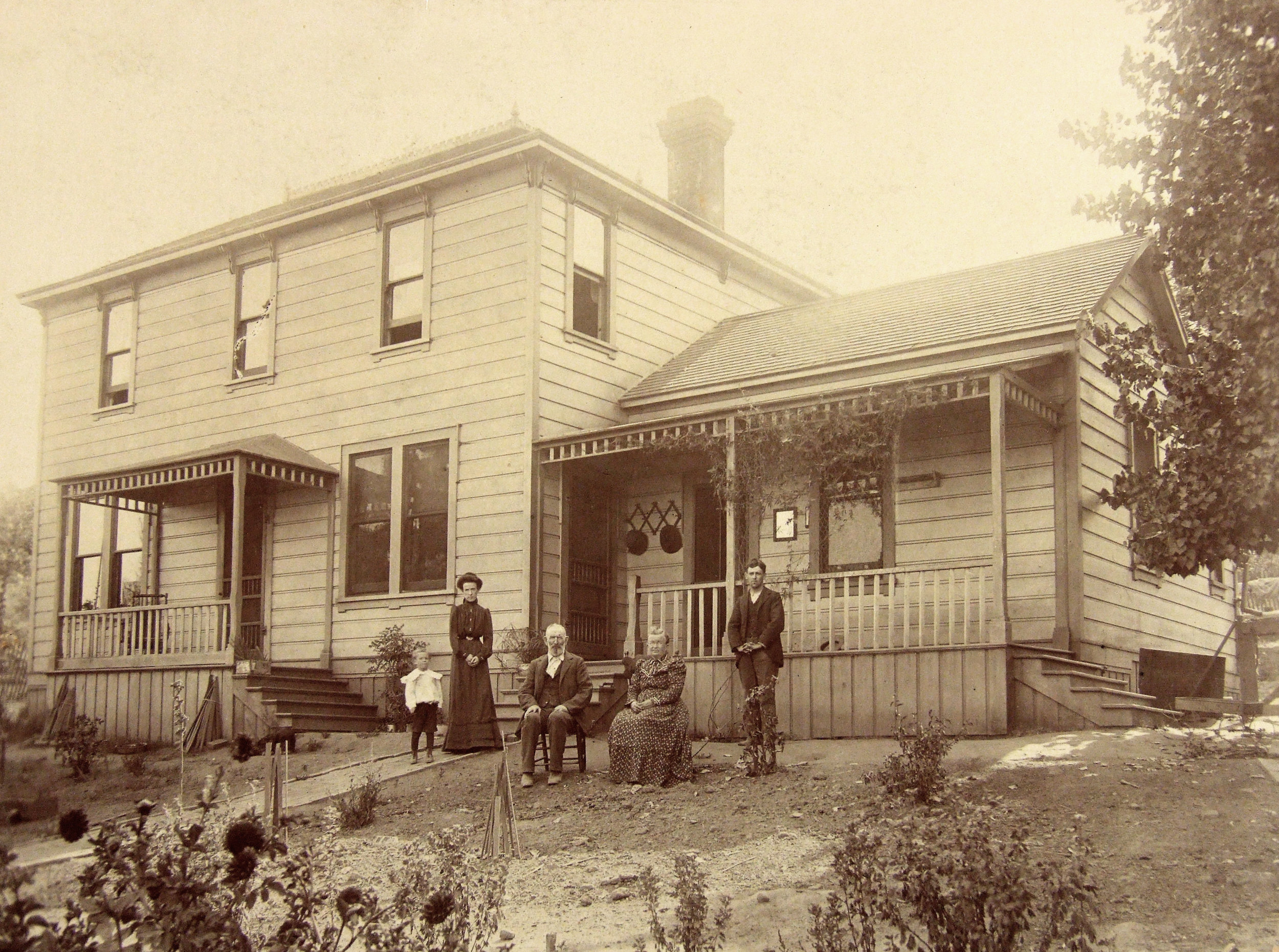 The York family in 1903 – Andrew York is in the middle – standing in front of the original York Mountain homestead, which we have completely restored as a home for our family and friends