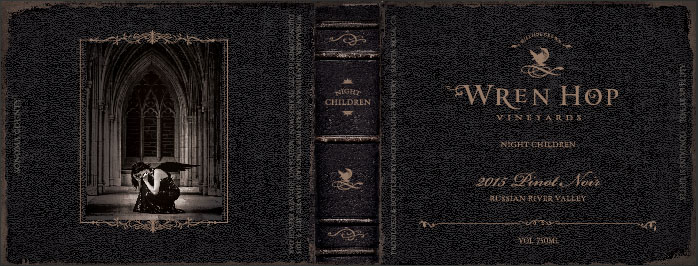 Wren Hop wine labels are in the form of a leather bound book