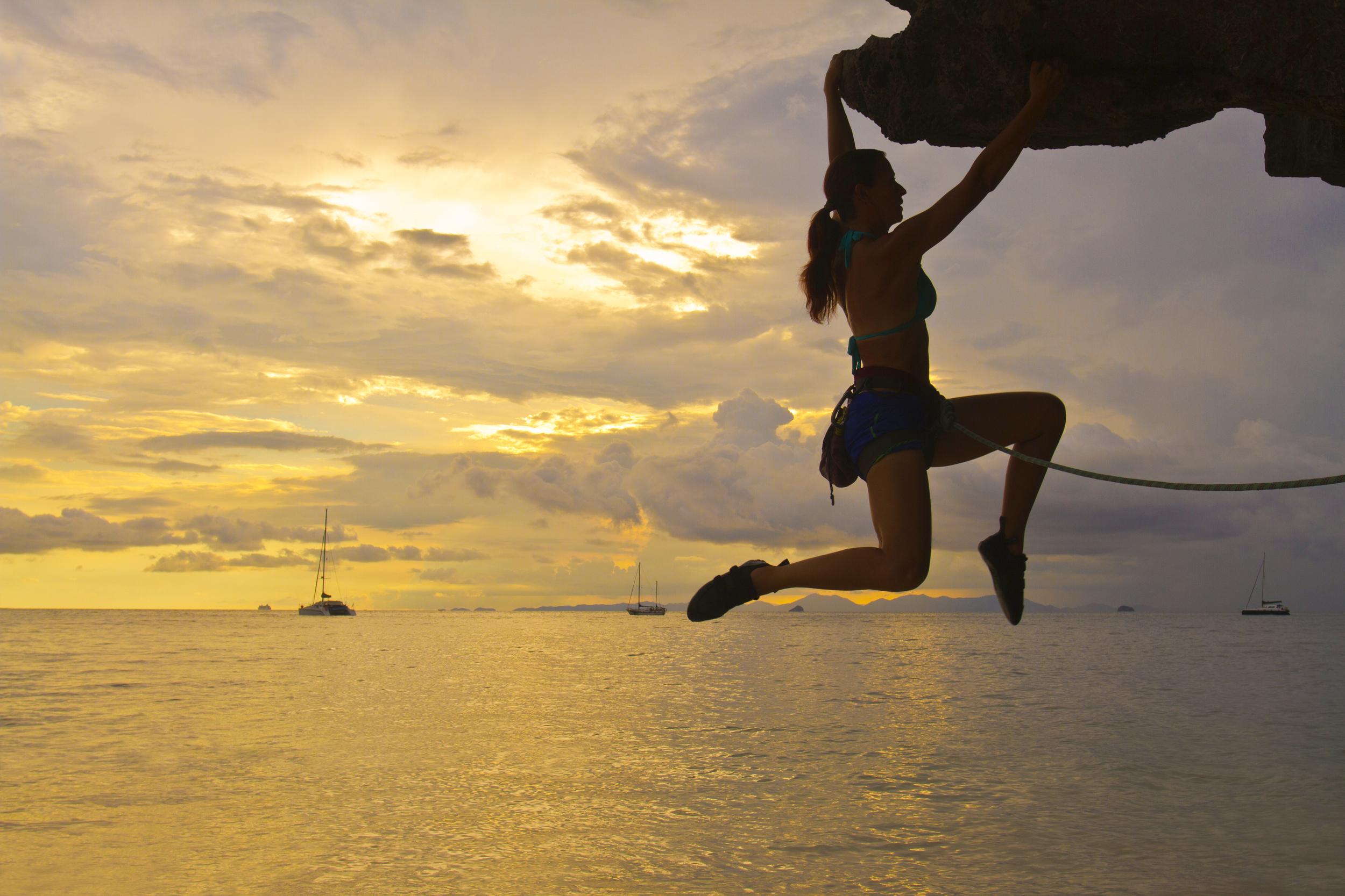 Woman Rock Climbing Silhouette