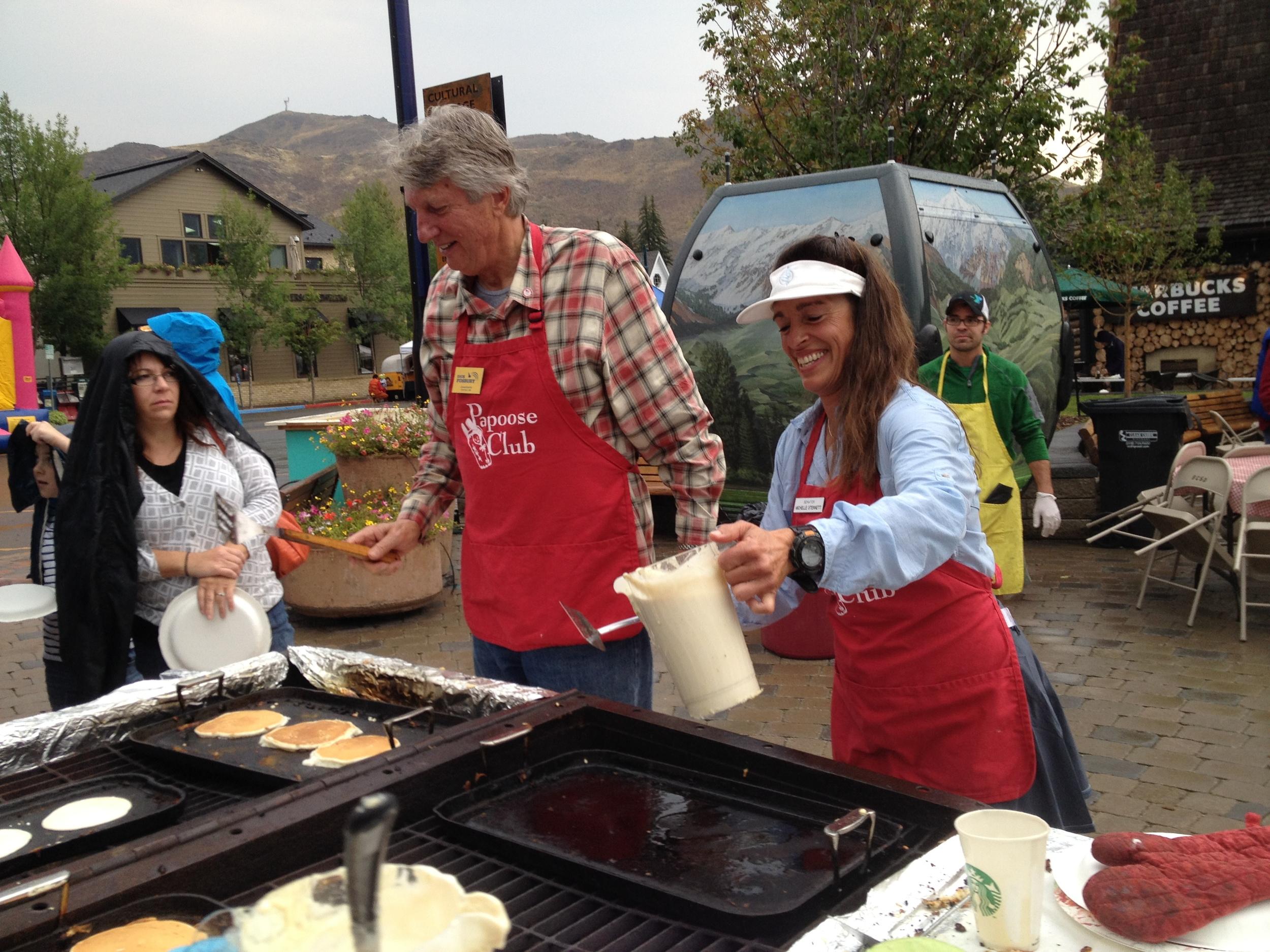 Serving pancake, Papoose Club Wagon Days pancake breakfast