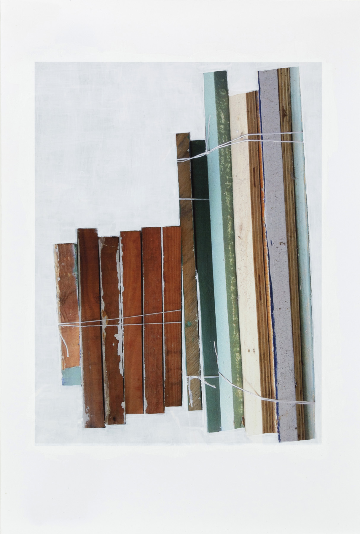 "Janice Caswell  :    Stacked Wood, East Village (Study 1),    acrylic paint on digital print, 9.5""Hx6.5"""