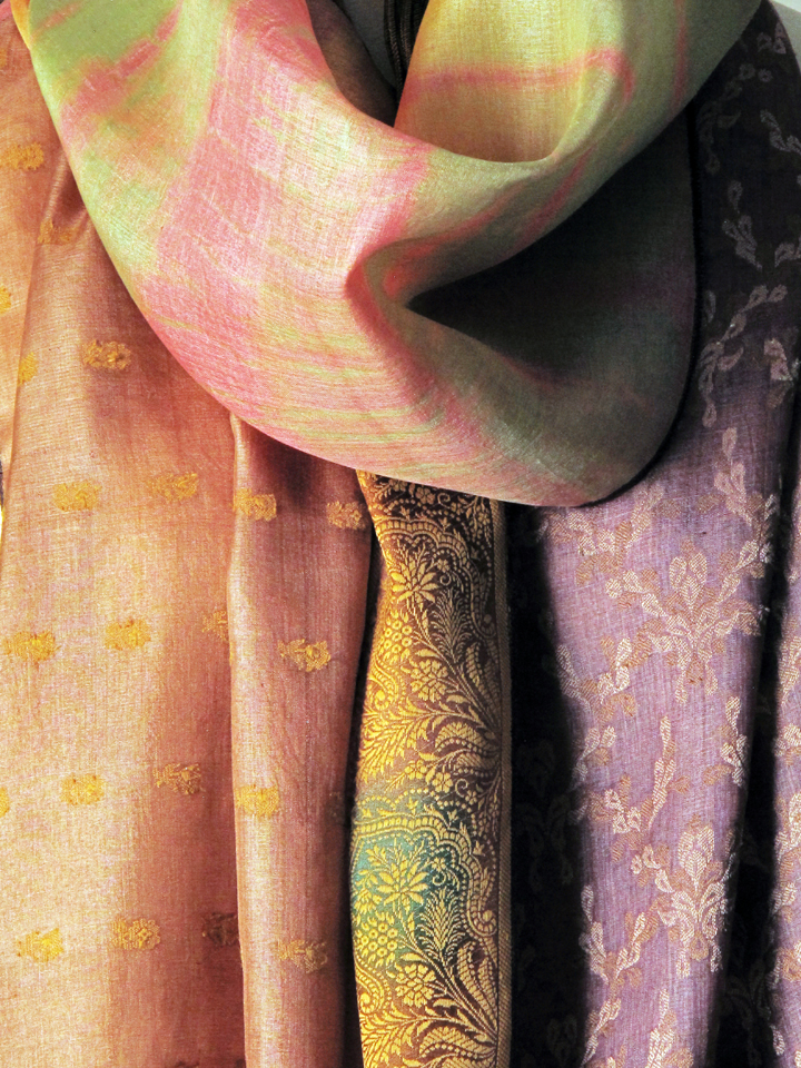Close-up of a Yvonne O'Gara vintage silk scarf