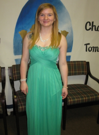 High school senior Ally Swift in her new prom dress.