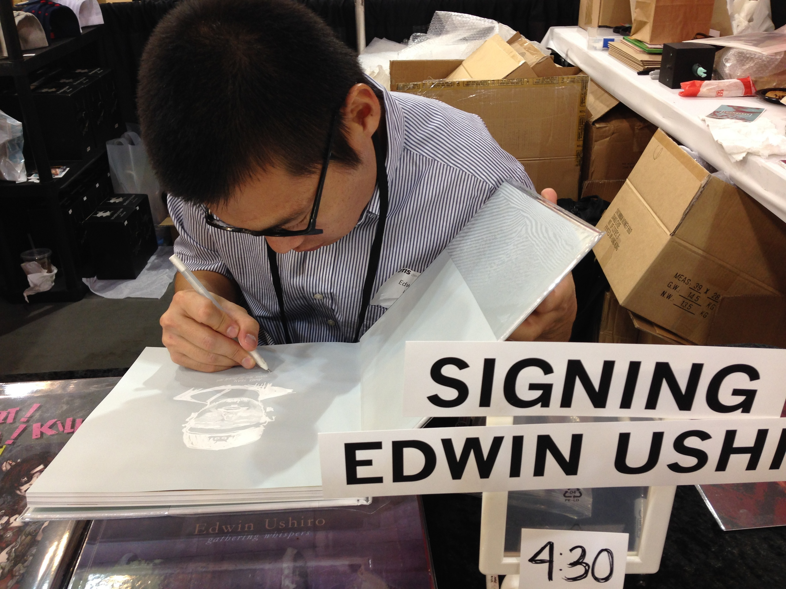 Book signing by artist friend Edwin Ushiro