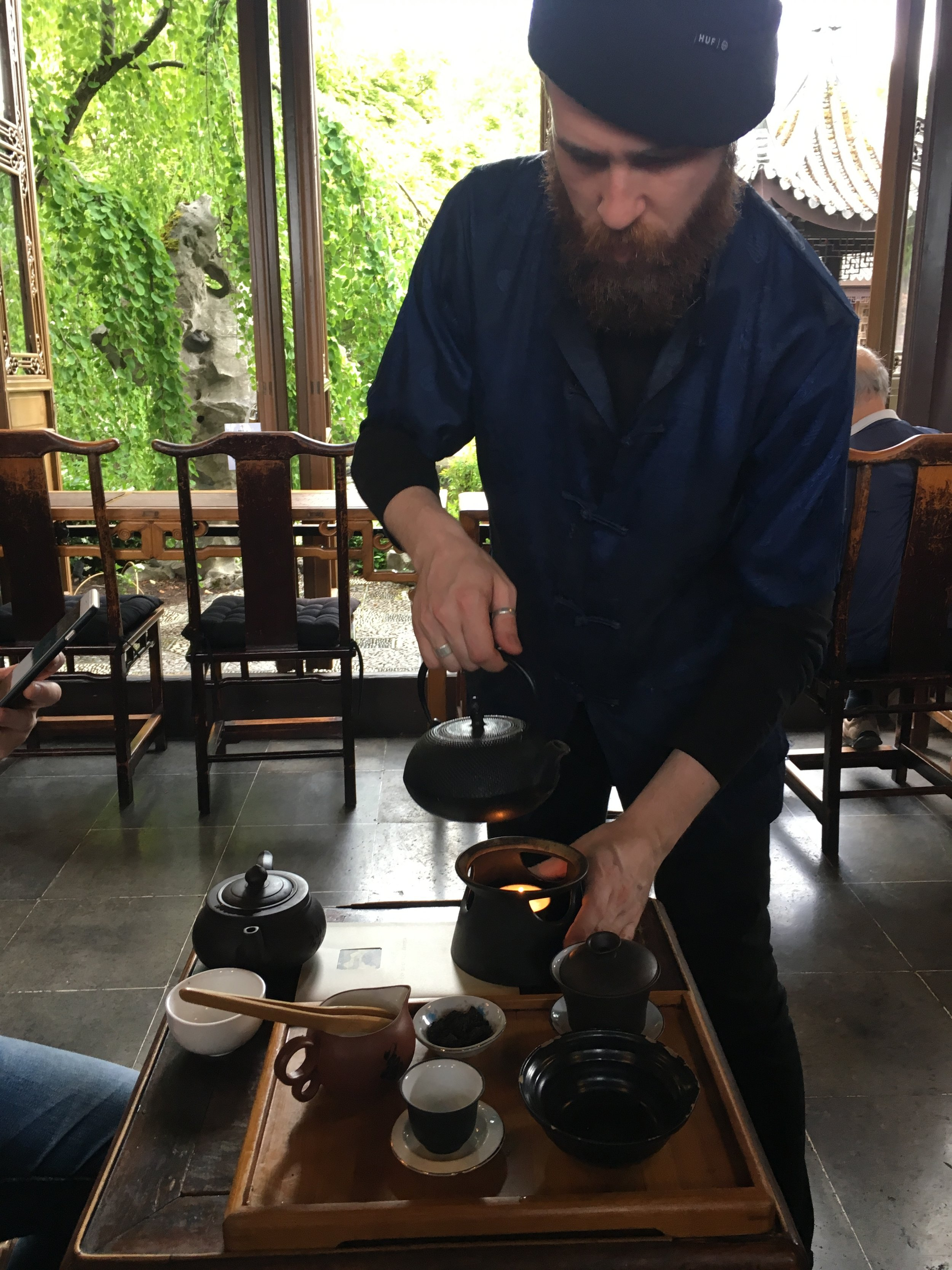 Wade is the tea master at the garden. If you ever had a chance to visit, I highly recommend the Ceremonial Tea Set (Kung Fu Tea) with PuEr tea. Wade will demonstrate and guide you through the way of tea brewing. (only $8)