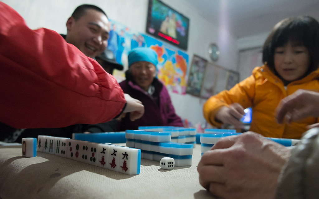 Playing mahjong on New Year's eve