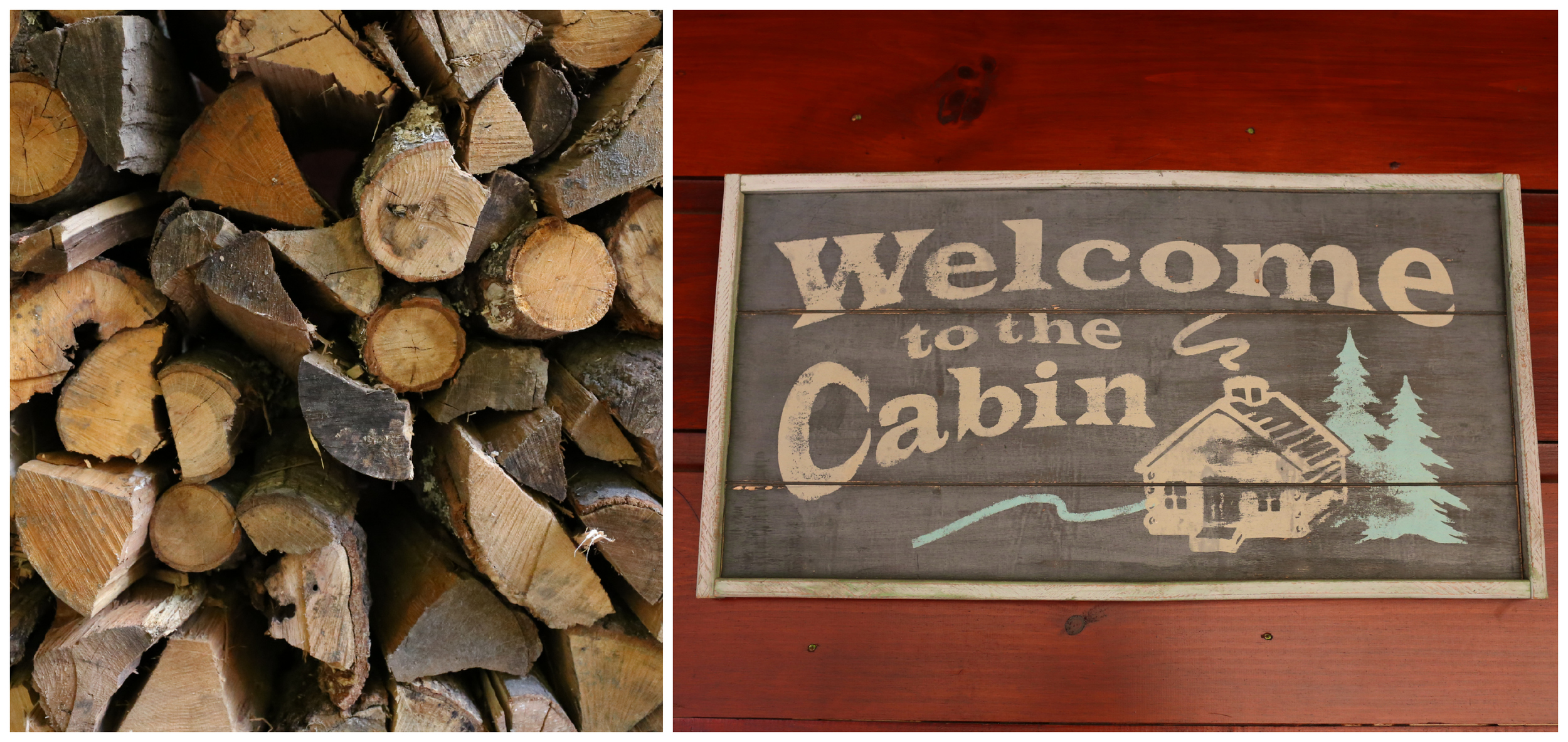 Welcome to the Cabin sign and firewood (Uninvented Colors Photography)