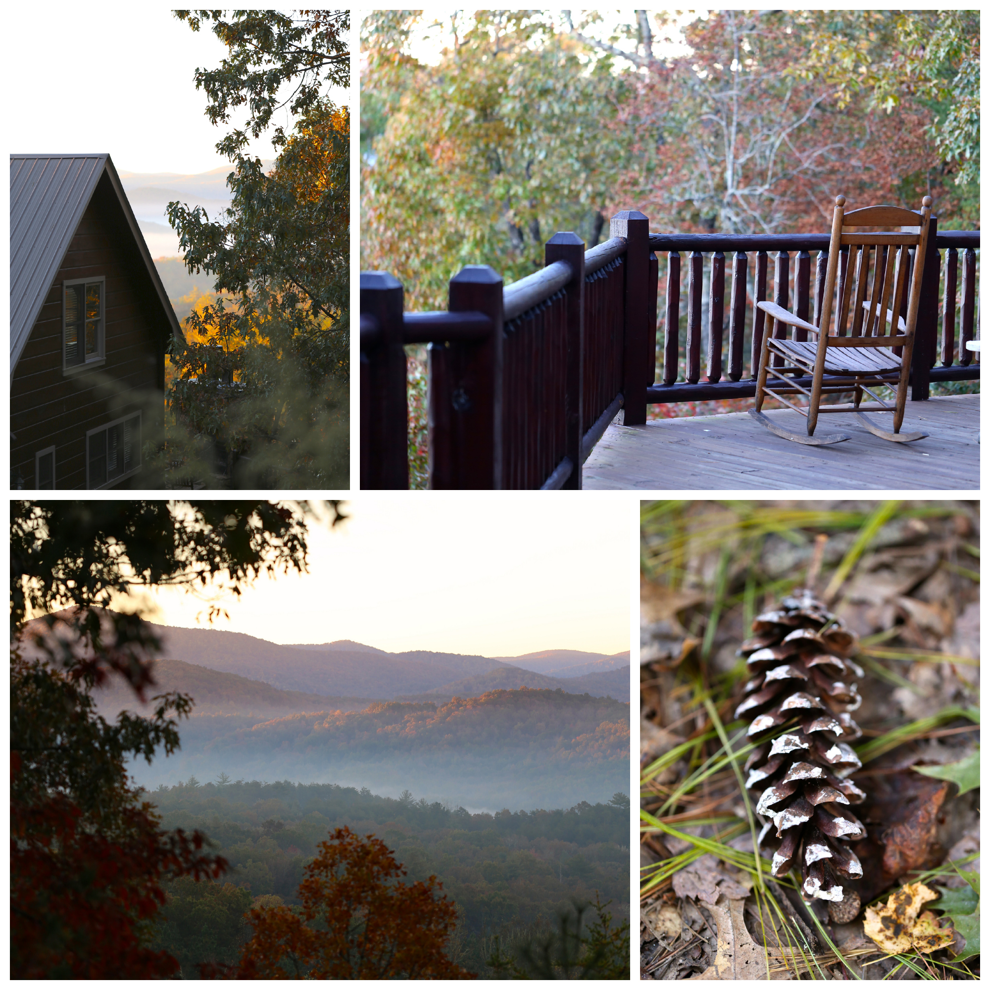 autumn morning at log cabin in mountains (Uninvented Colors Photography)