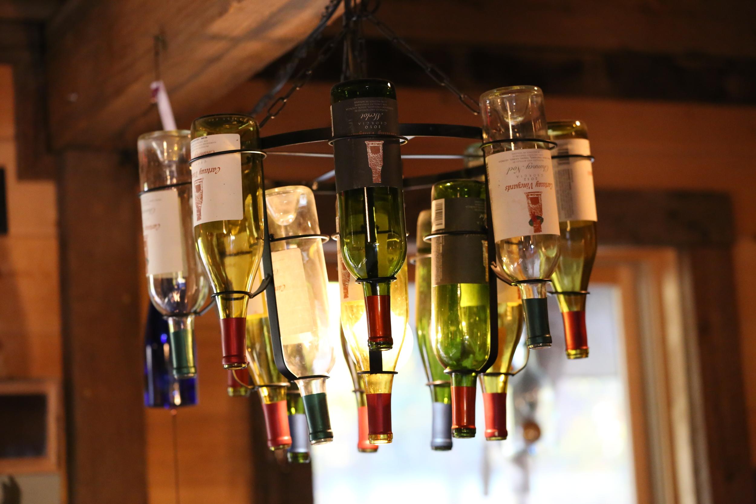 Cartecay Vineyards wine bottle chandelier (Uninvented Colors Photography)