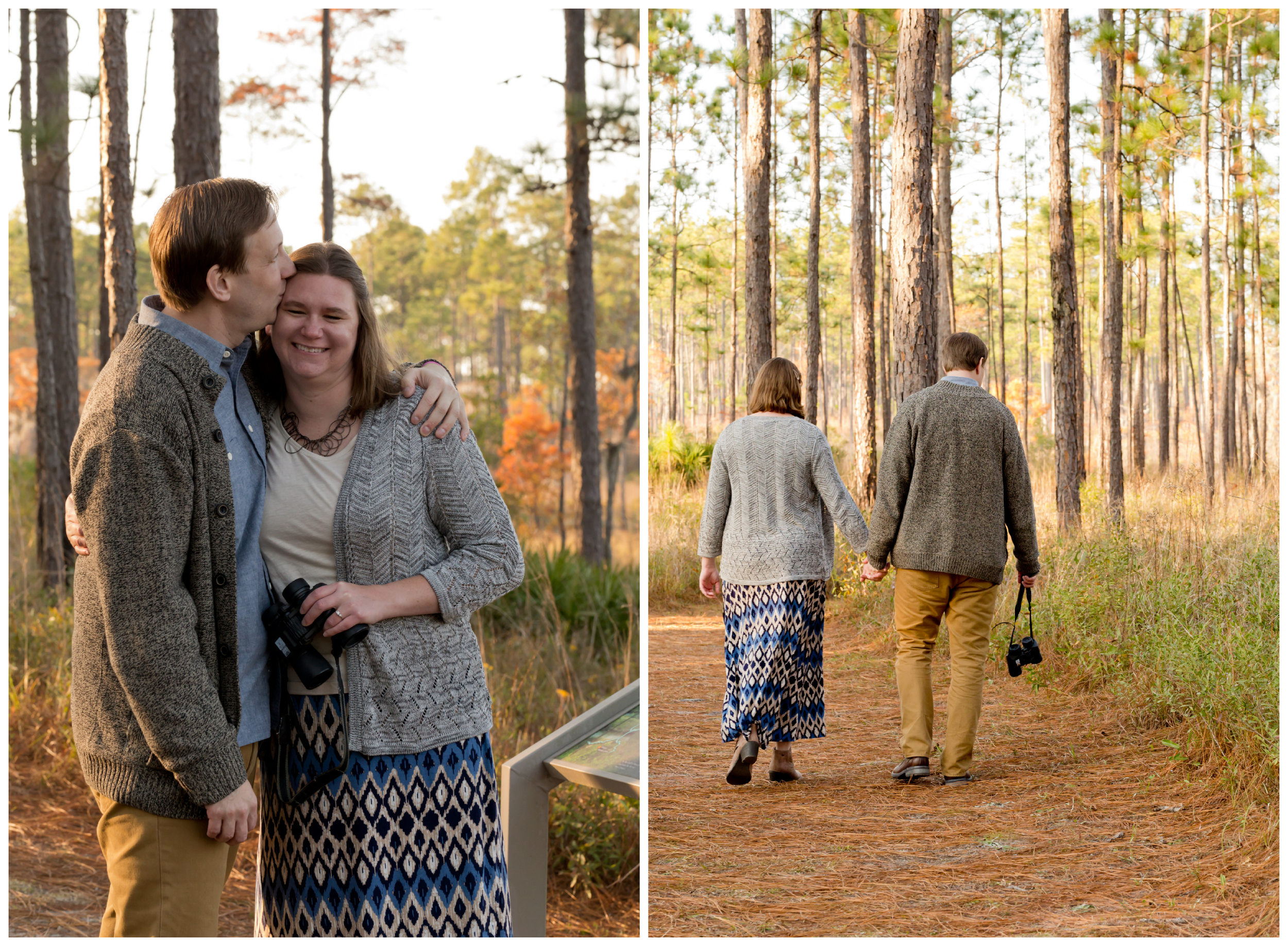 engagement photos with binoculars (Uninvented Colors Photography)