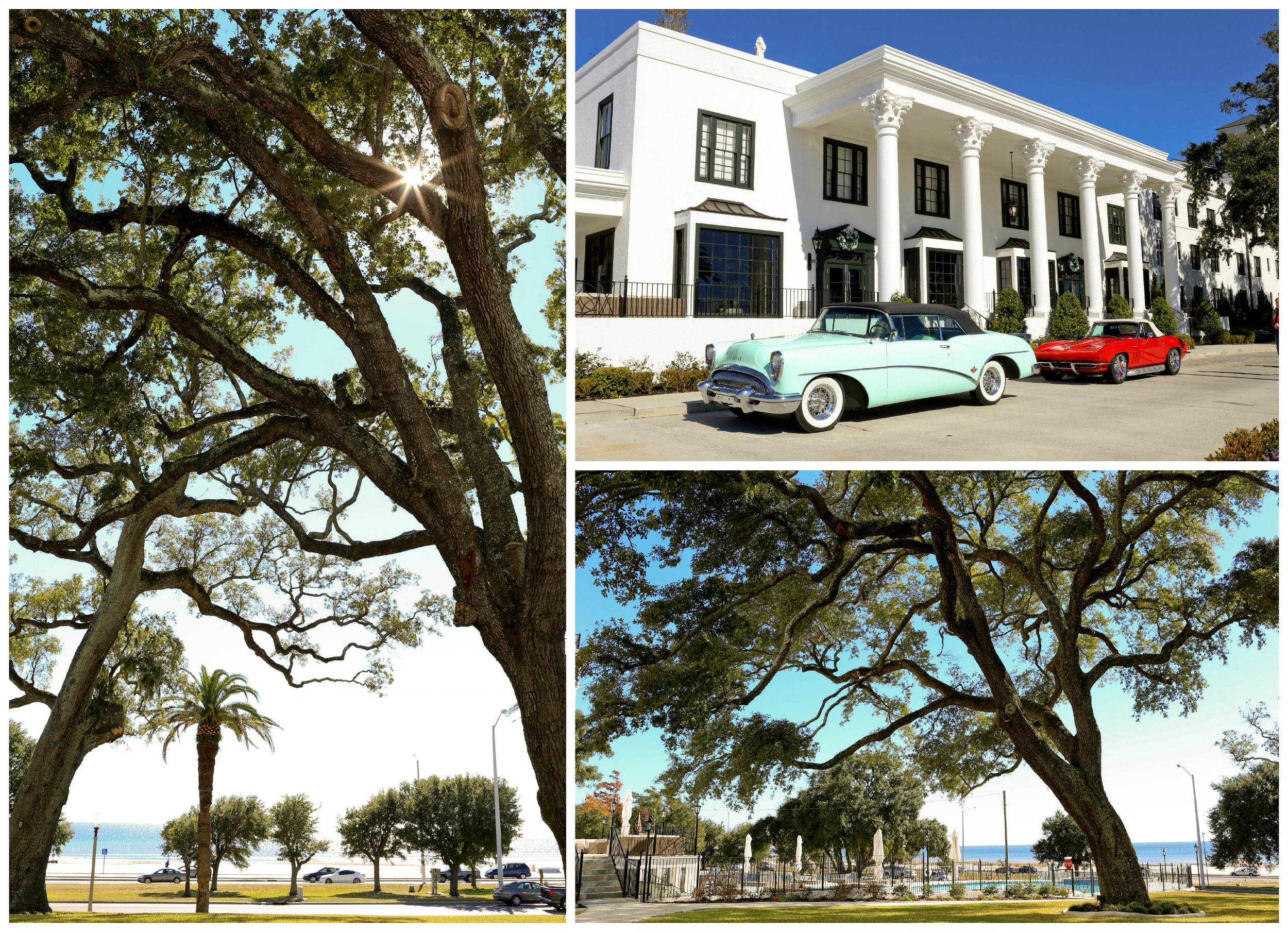 White House Hotel Biloxi exterior with cars and live oak trees