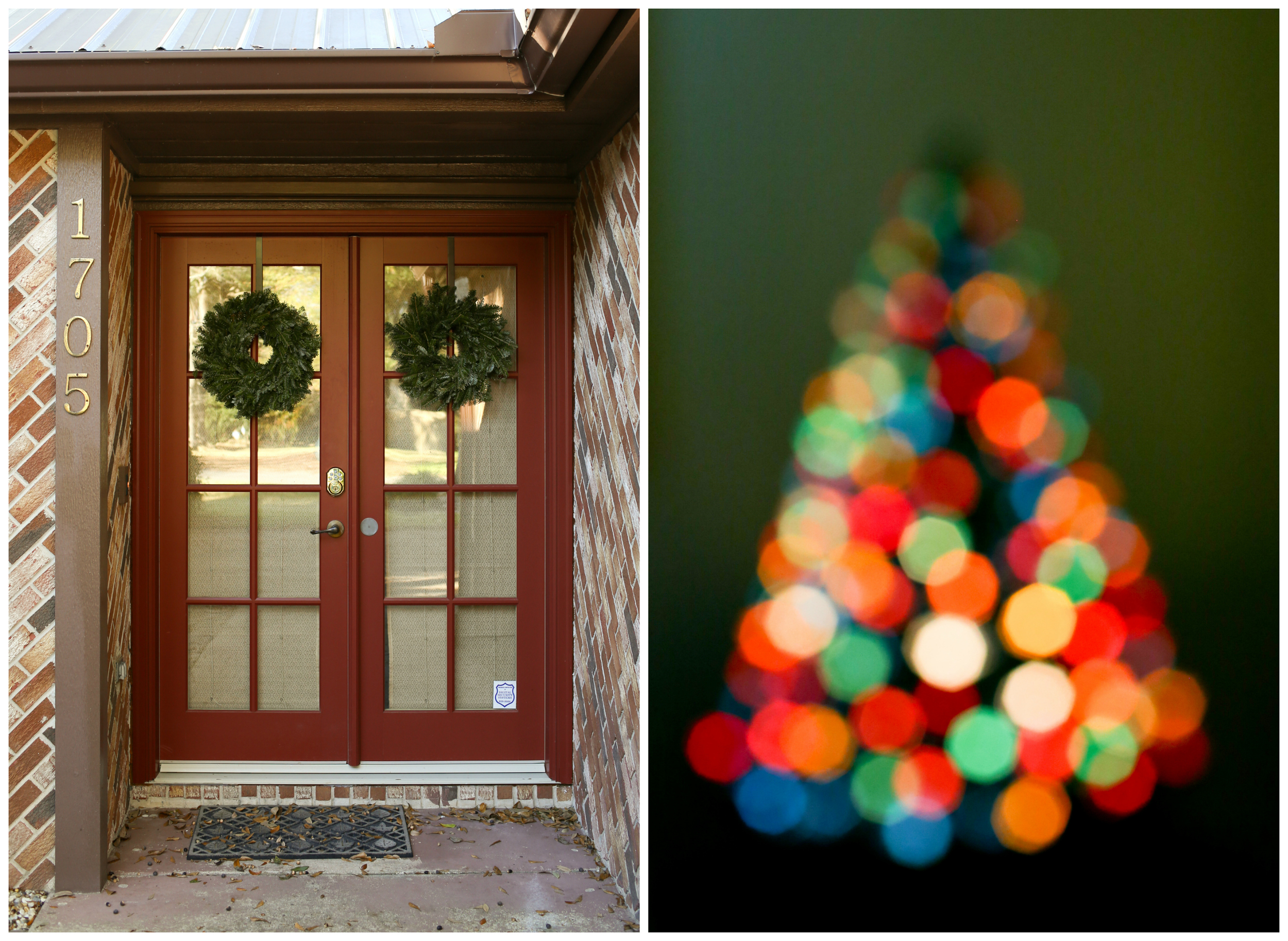 front door with wreaths and Christmas tree bokeh