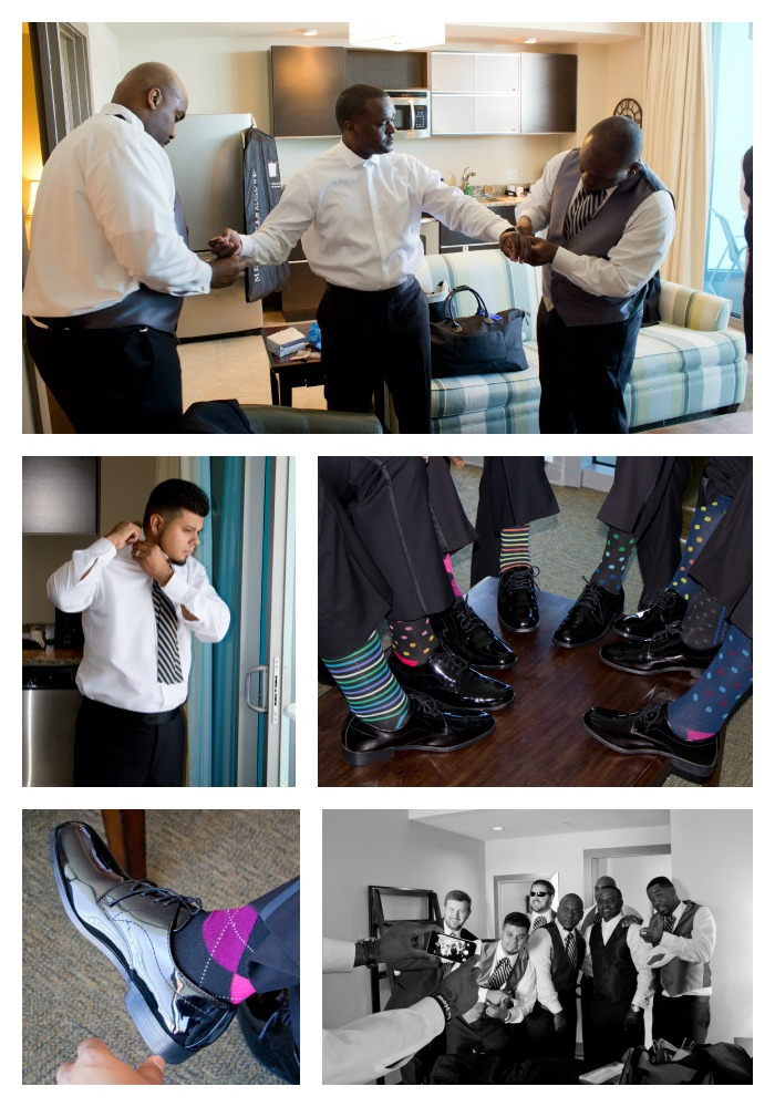 groom and groomsmen wedding preparations at South Beach Hotel in Biloxi (Uninvented Colors Photography)