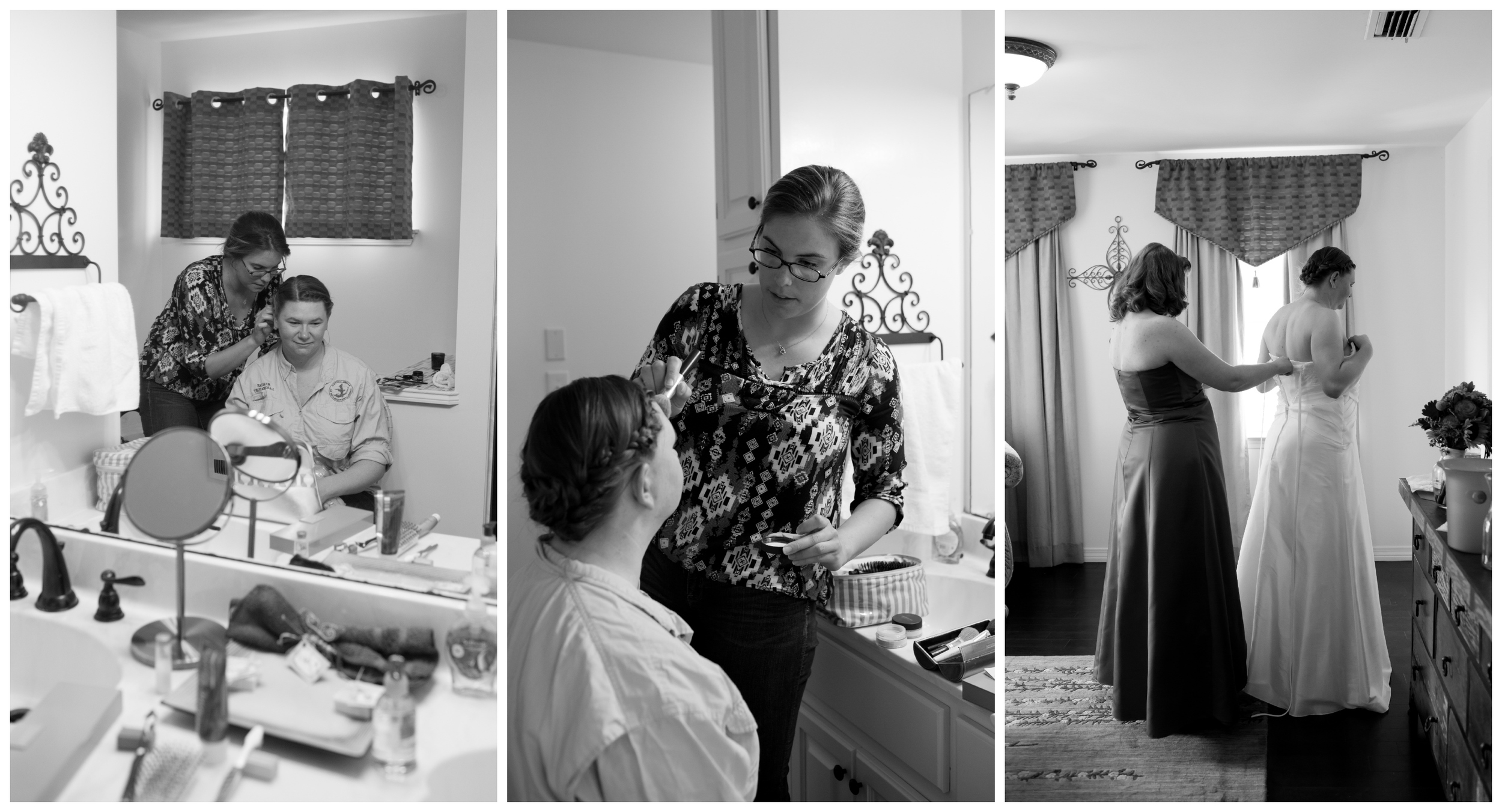 wedding preparation (hair and makeup) in black and white