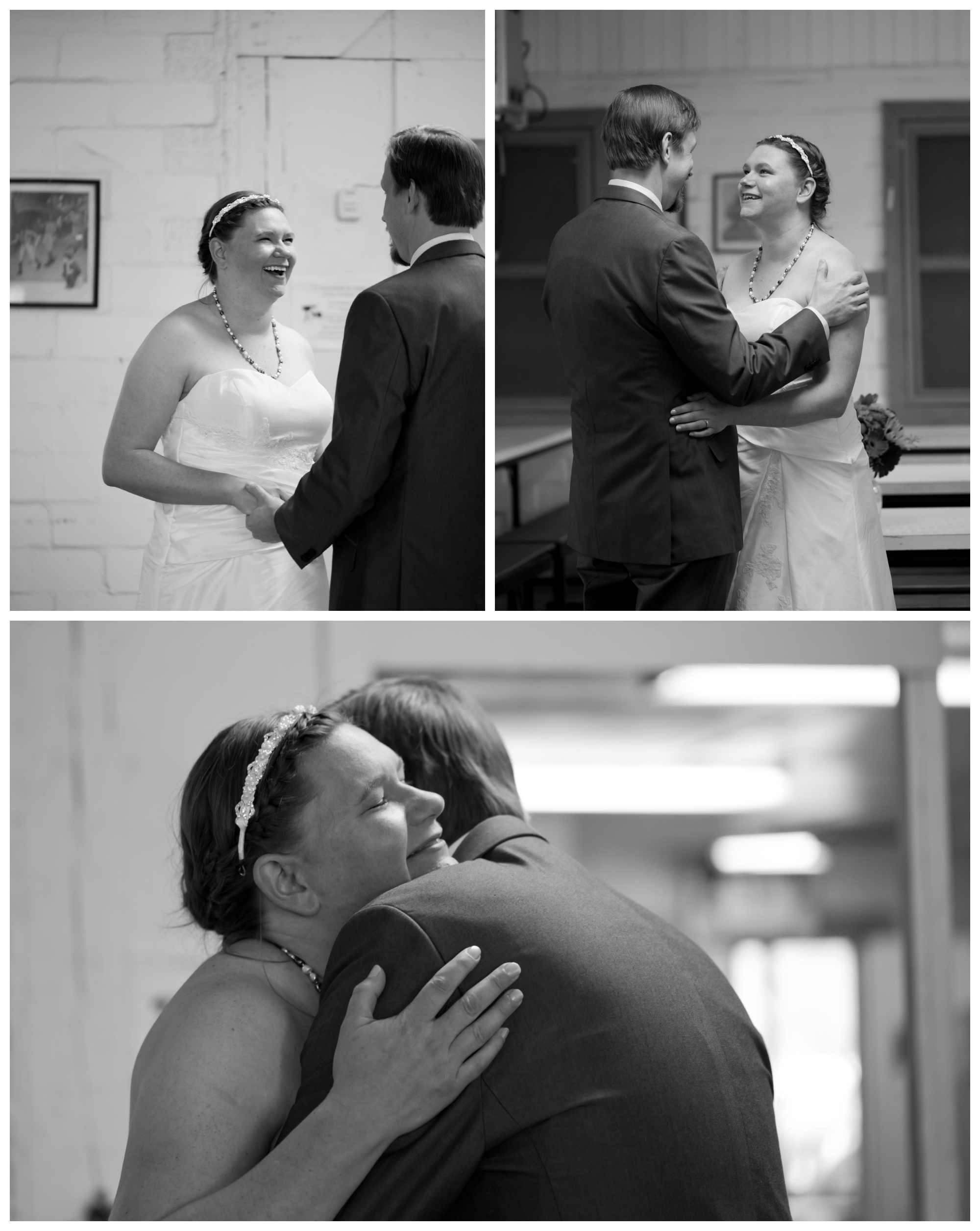first look wedding photos in black and white