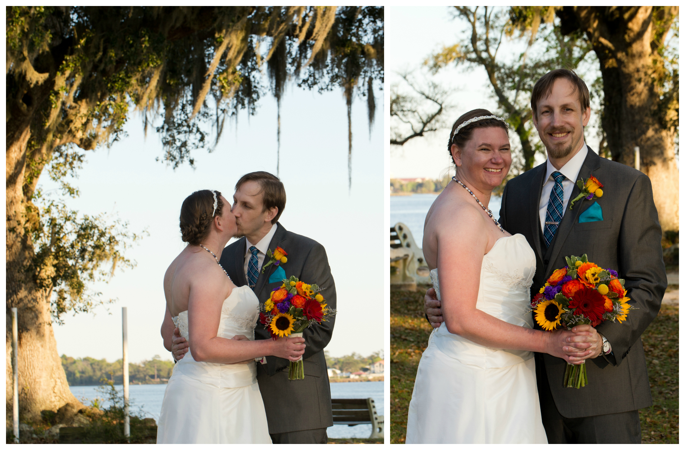 wedding portraits with live oak tree and colorful bouquet