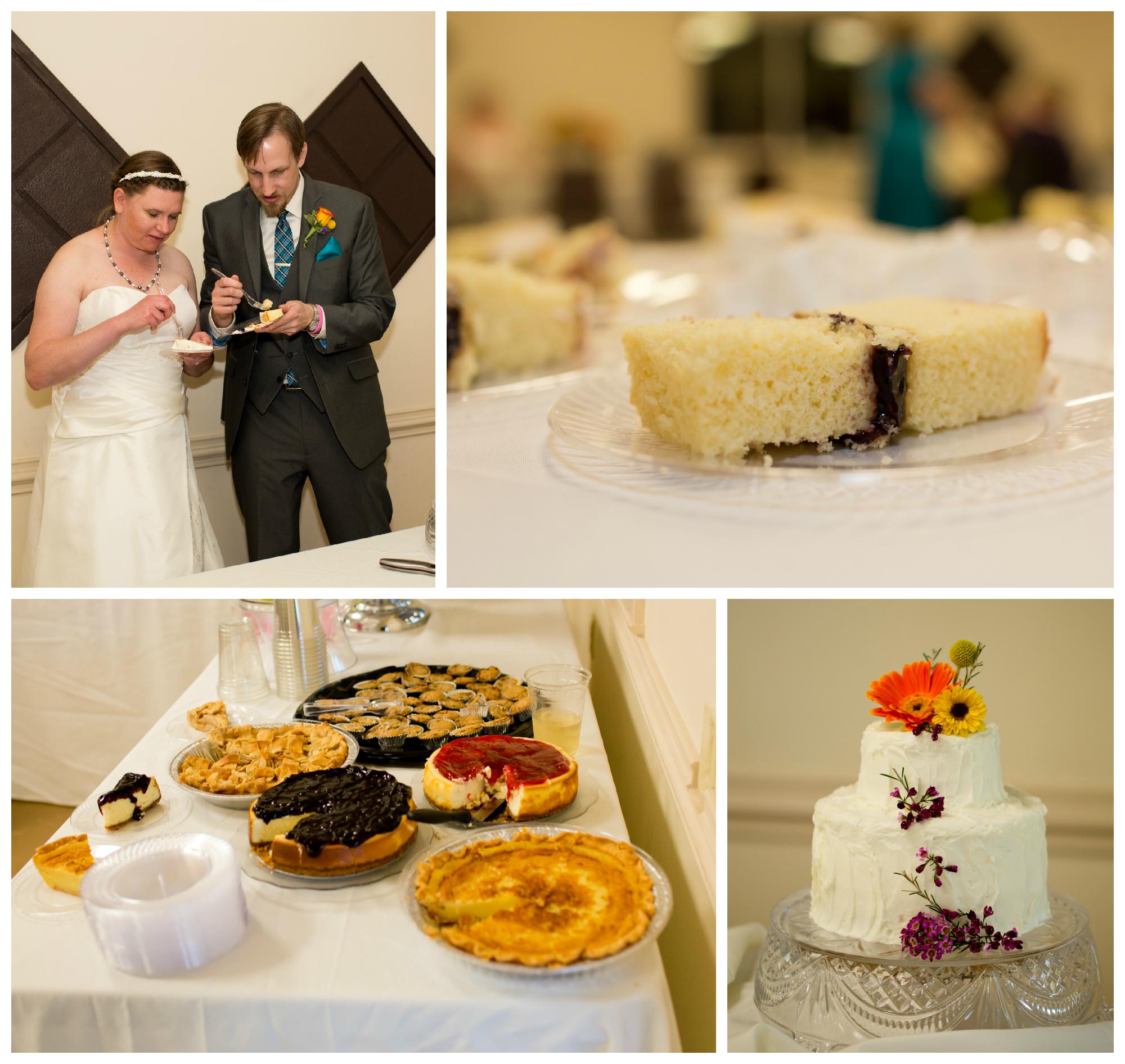 wedding cake, pie, dessert table