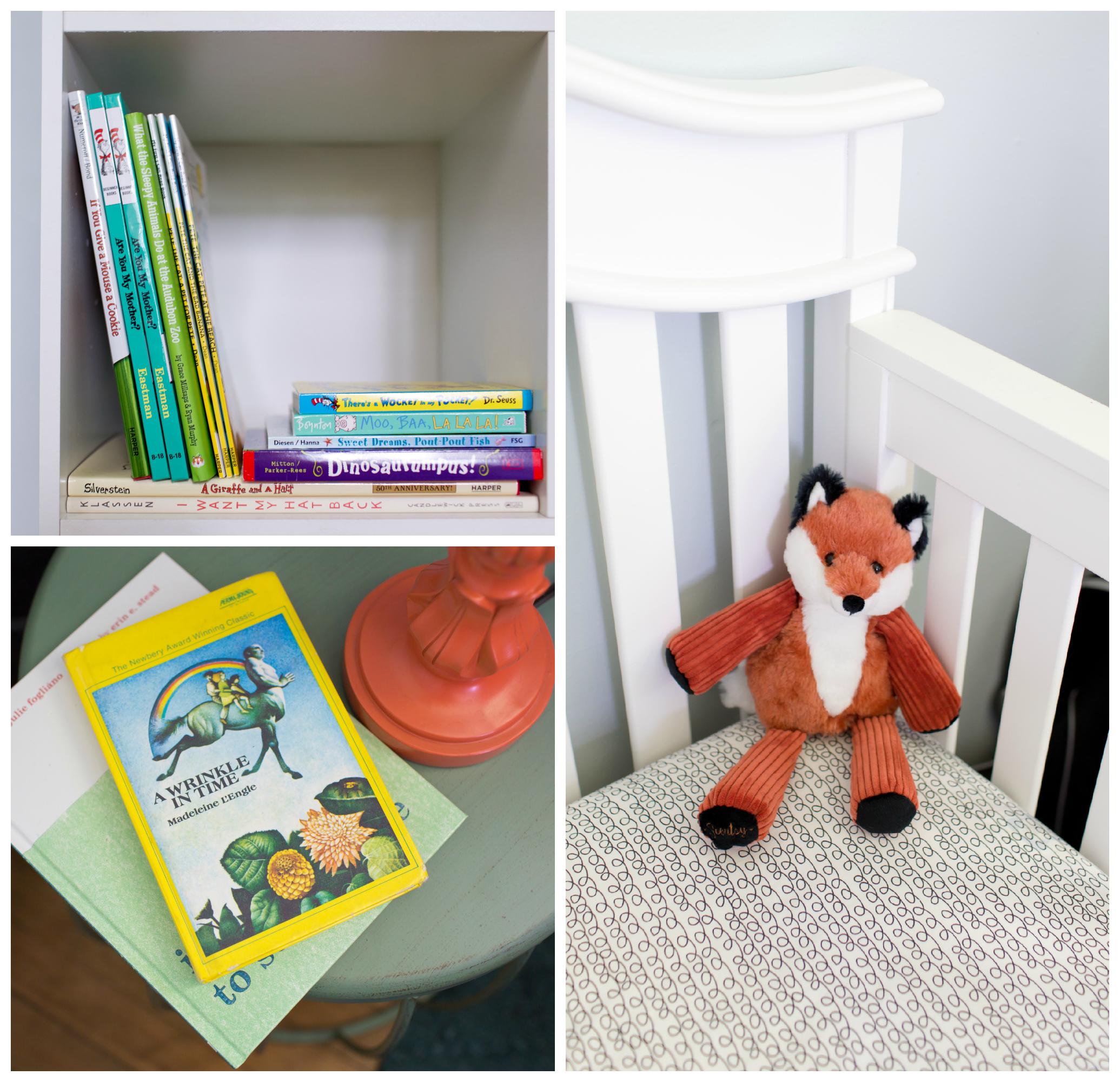 baby boy nursery details (books, stuffed fox)