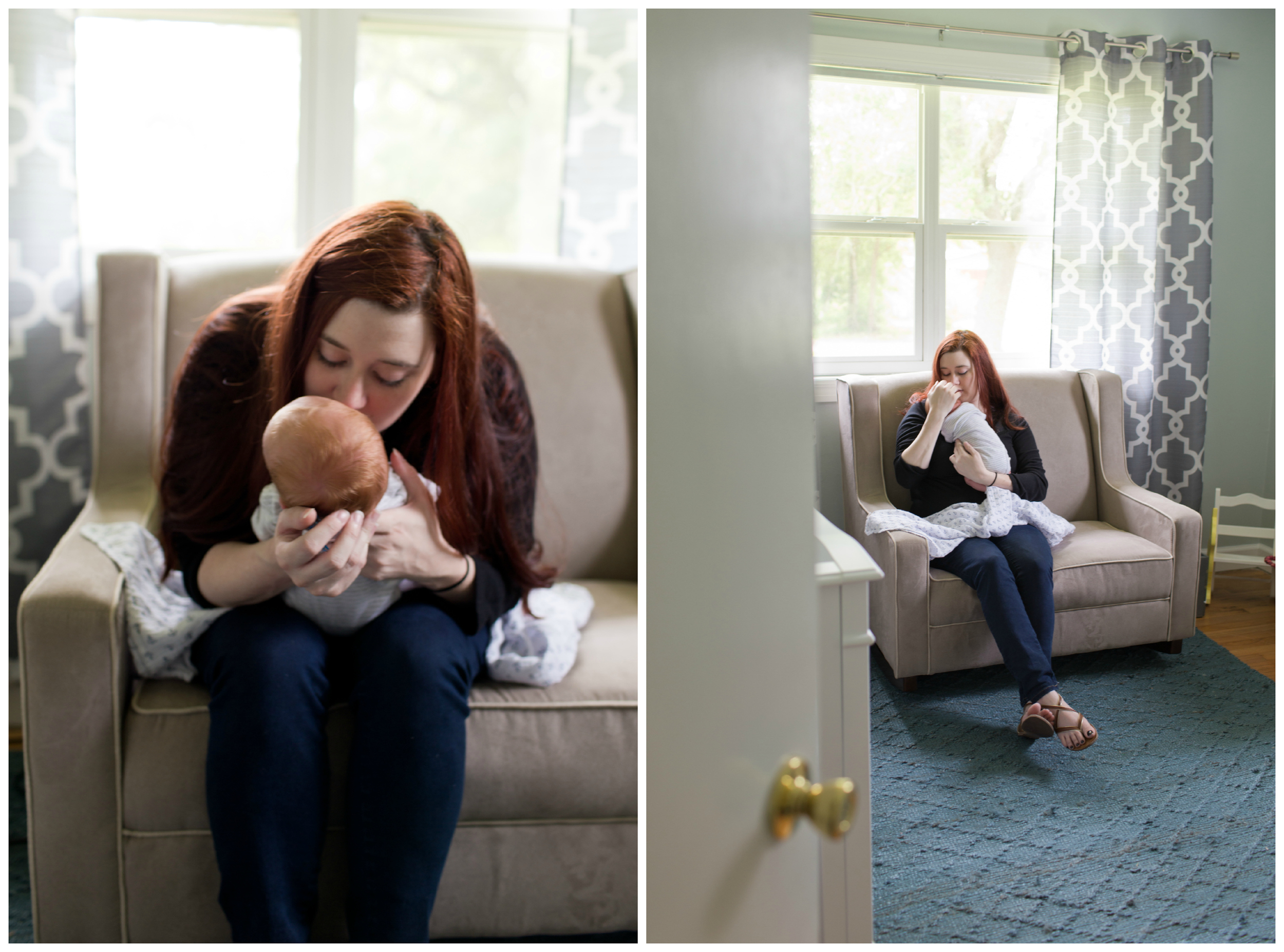 new mom with newborn baby in nursery (Uninvented Colors Photography)