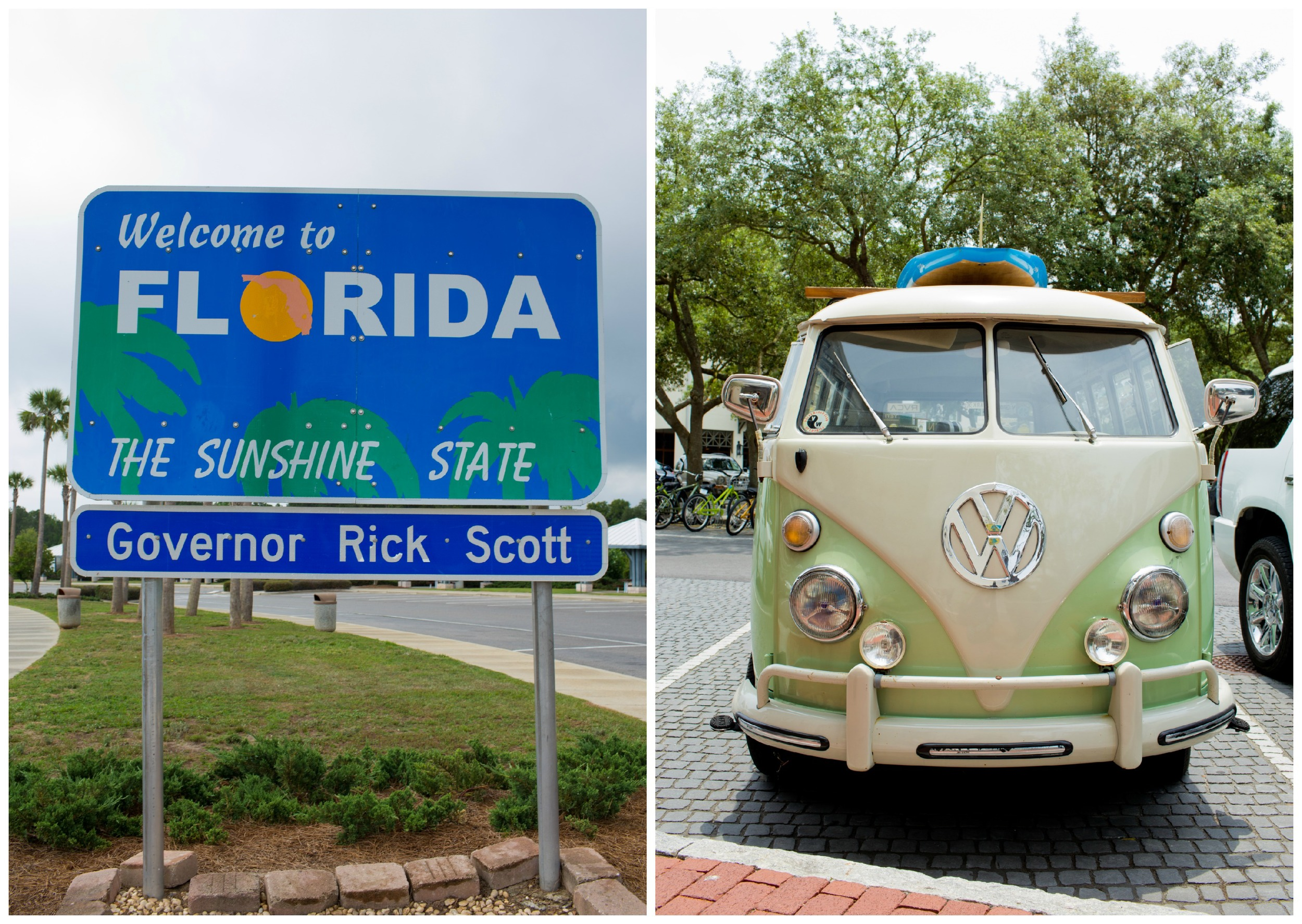 Florida vacation (welcome sign and retro VW bus)